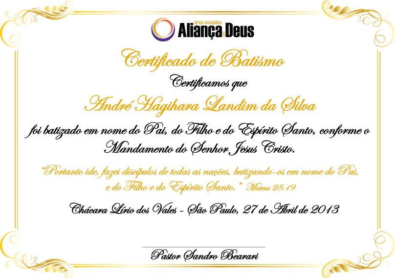 Certificado De Batismo Cole O De Cantinho Das Lembrancinhas E