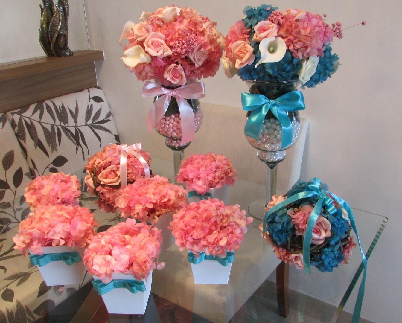 Kit festa azul tiffany   rosa-bebê I no Elo7   Rosamorena Artes Florais  (316E95) 17c543584d