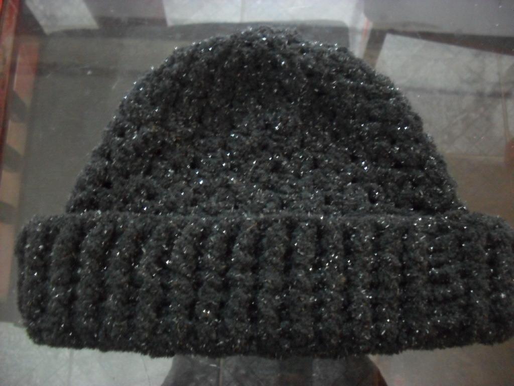 Gorro de lã de Crochê Preto no Elo7  c6f1ad98eab