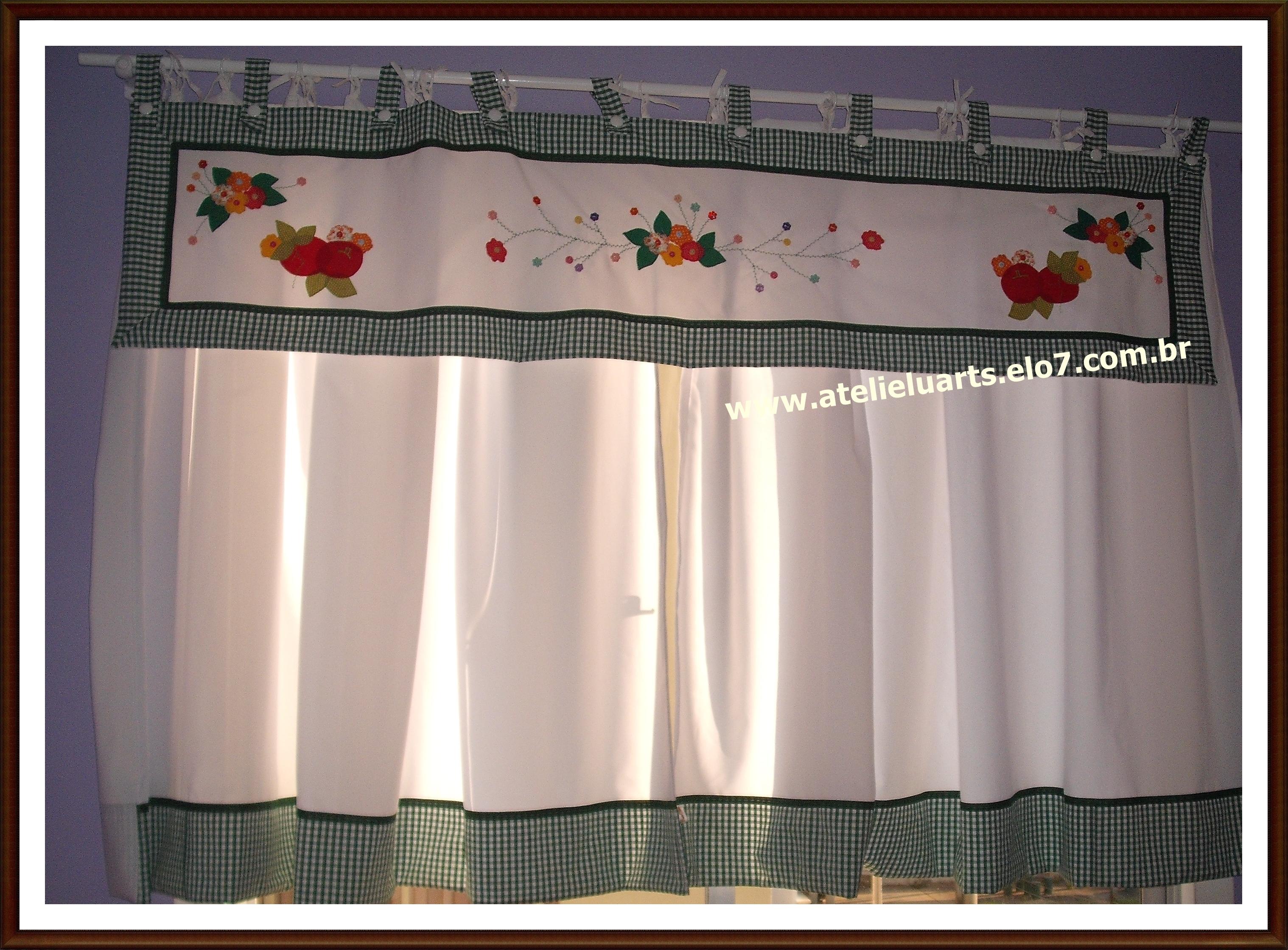 Cortina e band para cozinha ateli luarts elo7 - Apliques para cortinas ...