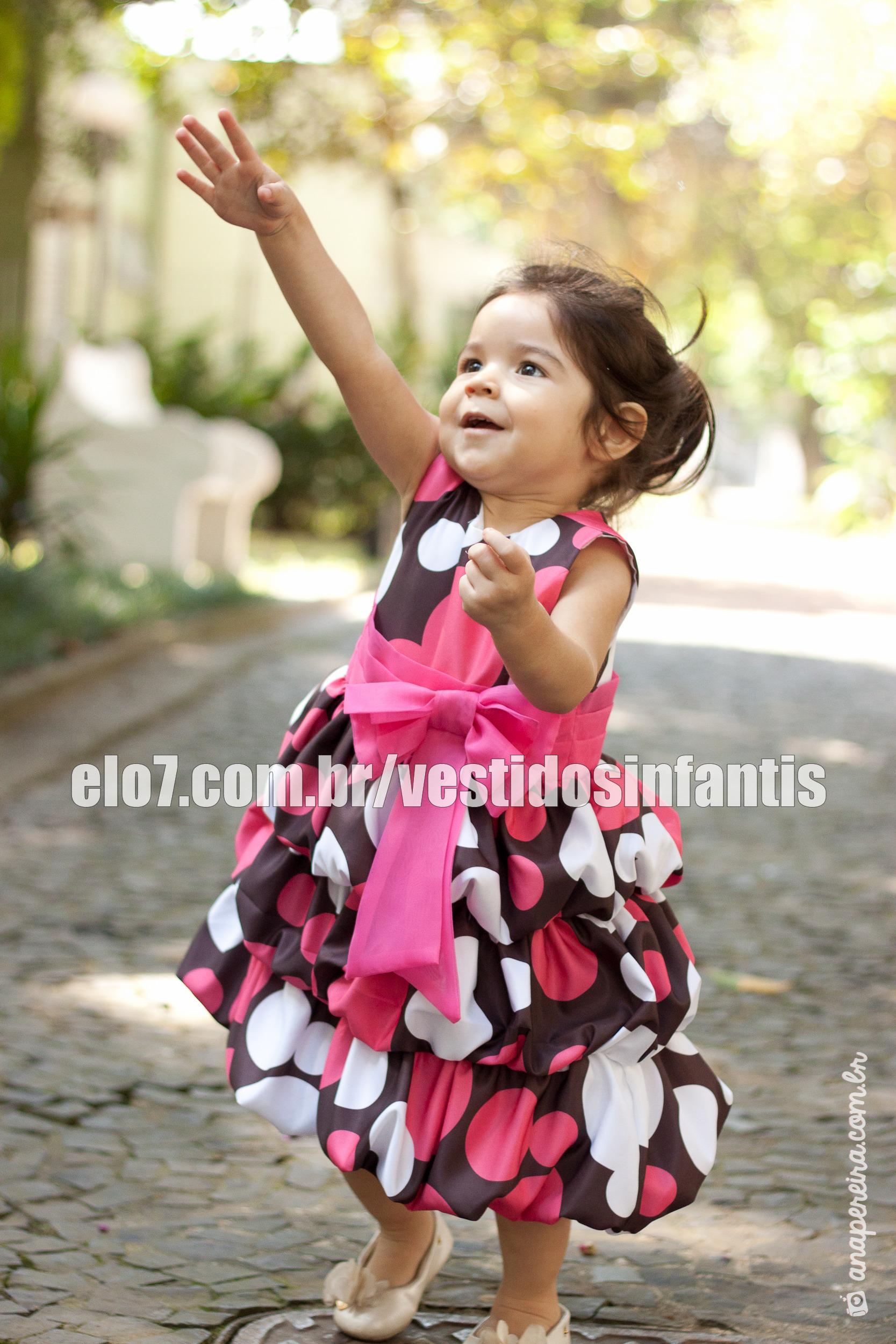 0432066256 Vestido Rosa com Marrom Infantil