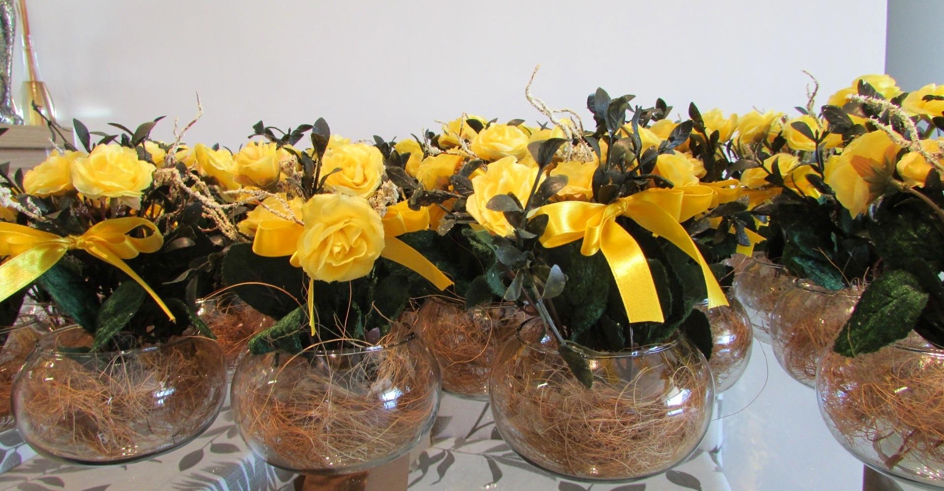 Muito Vaso de vidro com flores amarelas III no Elo7 | Rosamorena Artes  EJ75