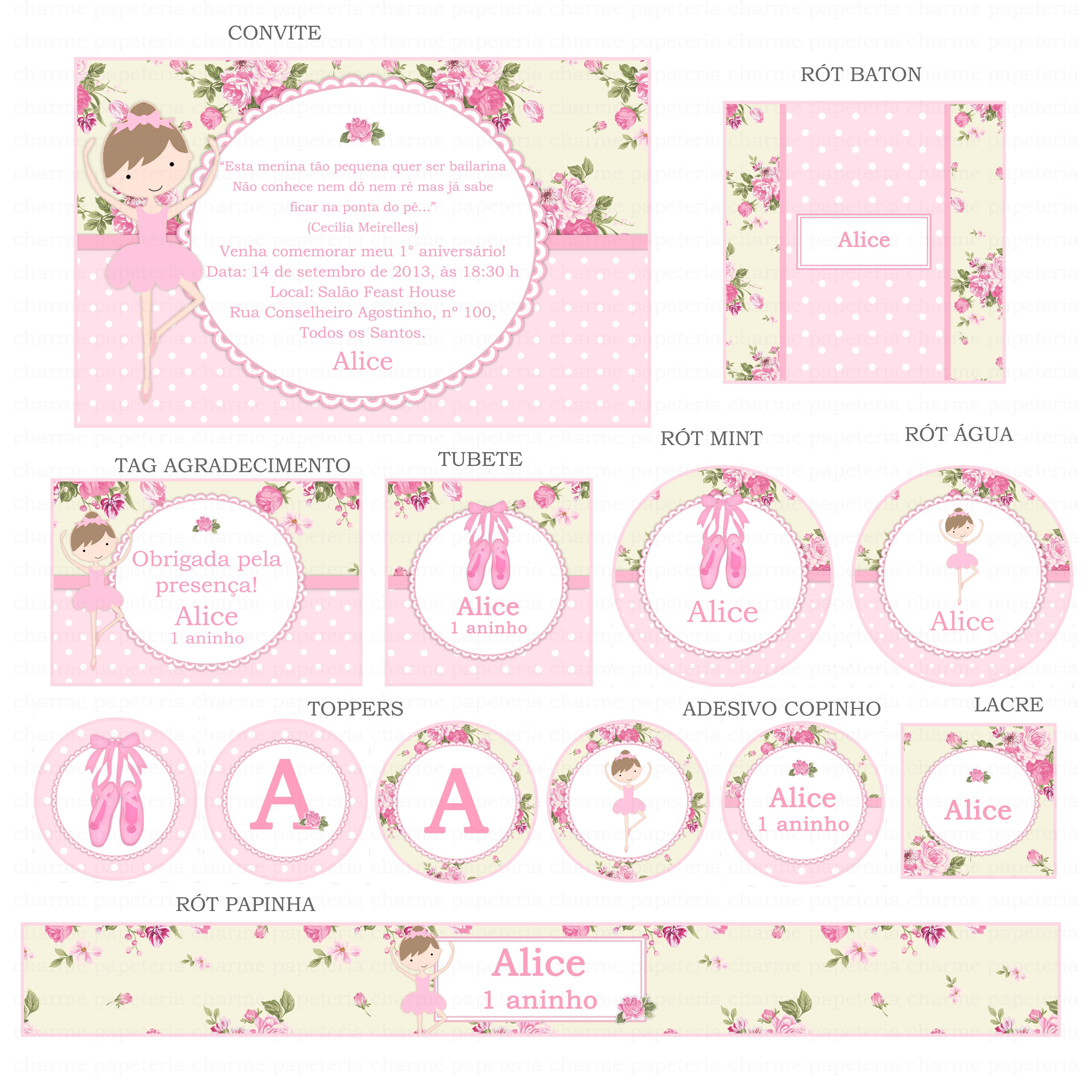 Kit digital rosa e bege bailarina Charme Papeteria Elo7 #B11A55 6300x6300 Banheiro Bege E Rosa