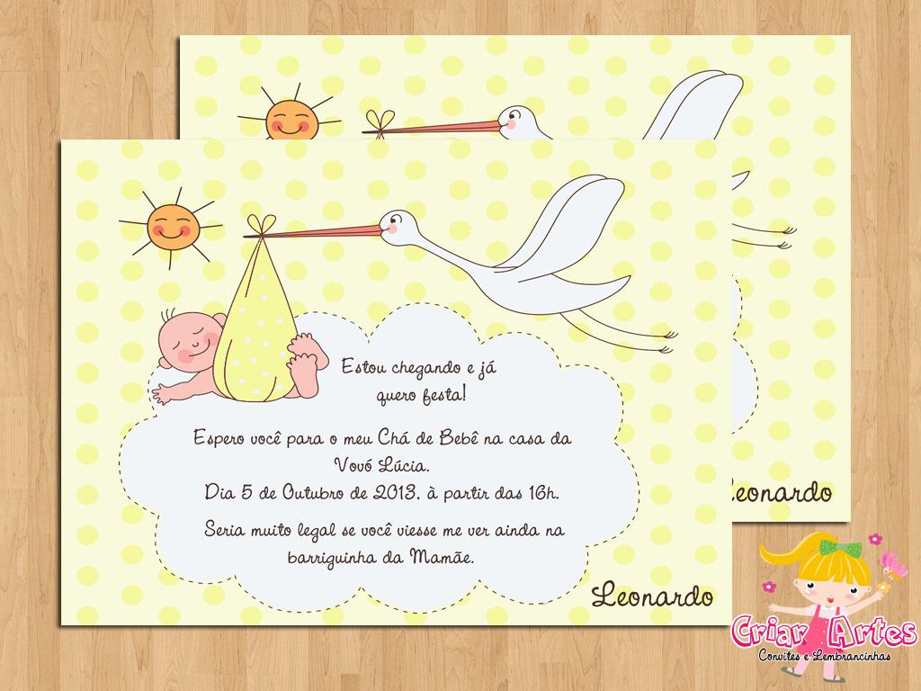 Convite Chá De Bebê Cegonha Elo7