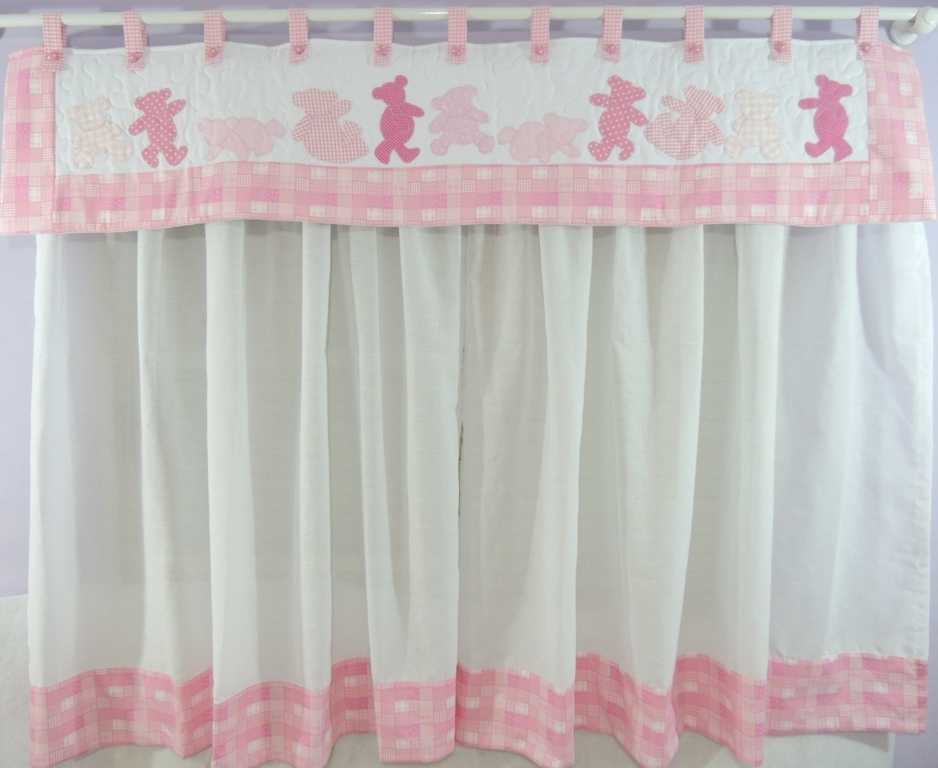 Cortina ursinha rosa mania de patch elo7 for Cortinas estampadas modernas