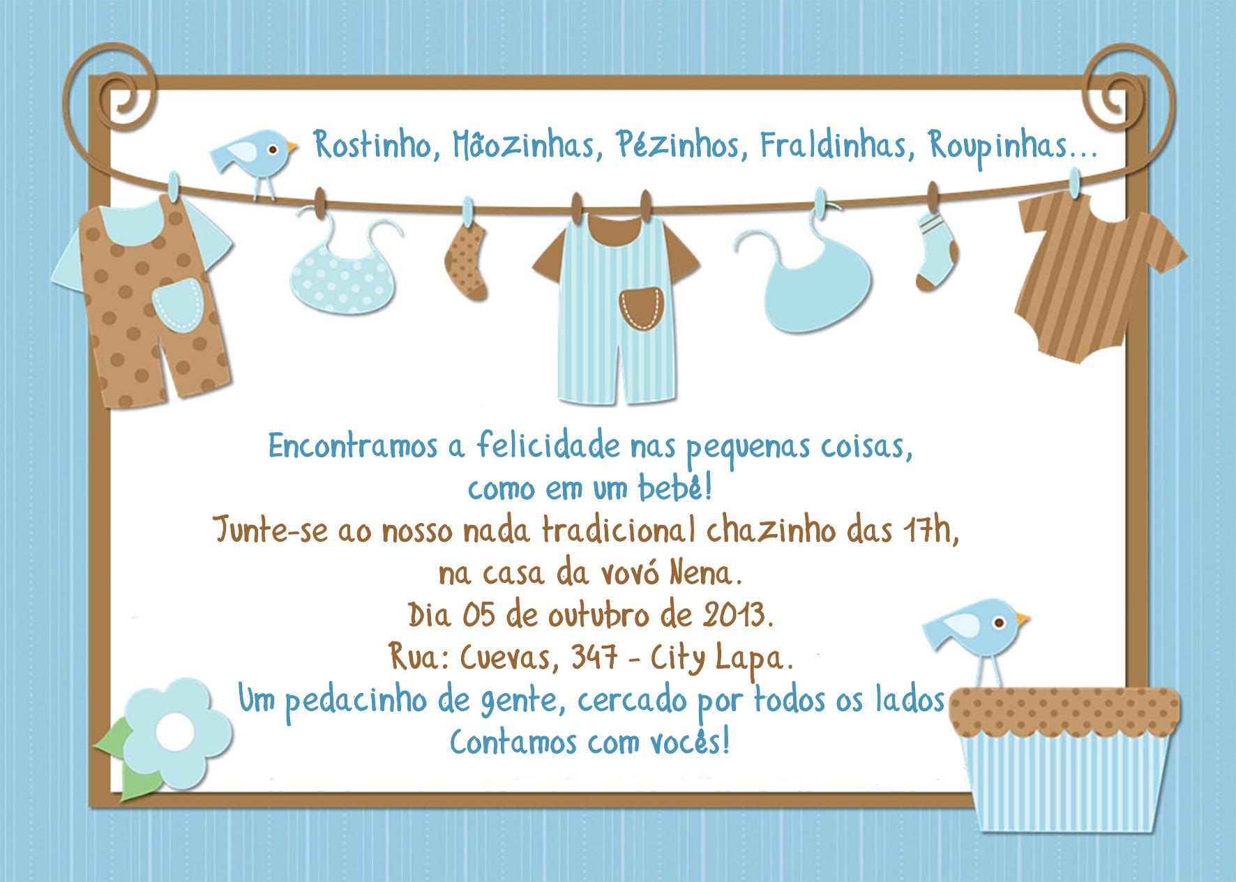 convite ch u00c1 de beb u00ca azul
