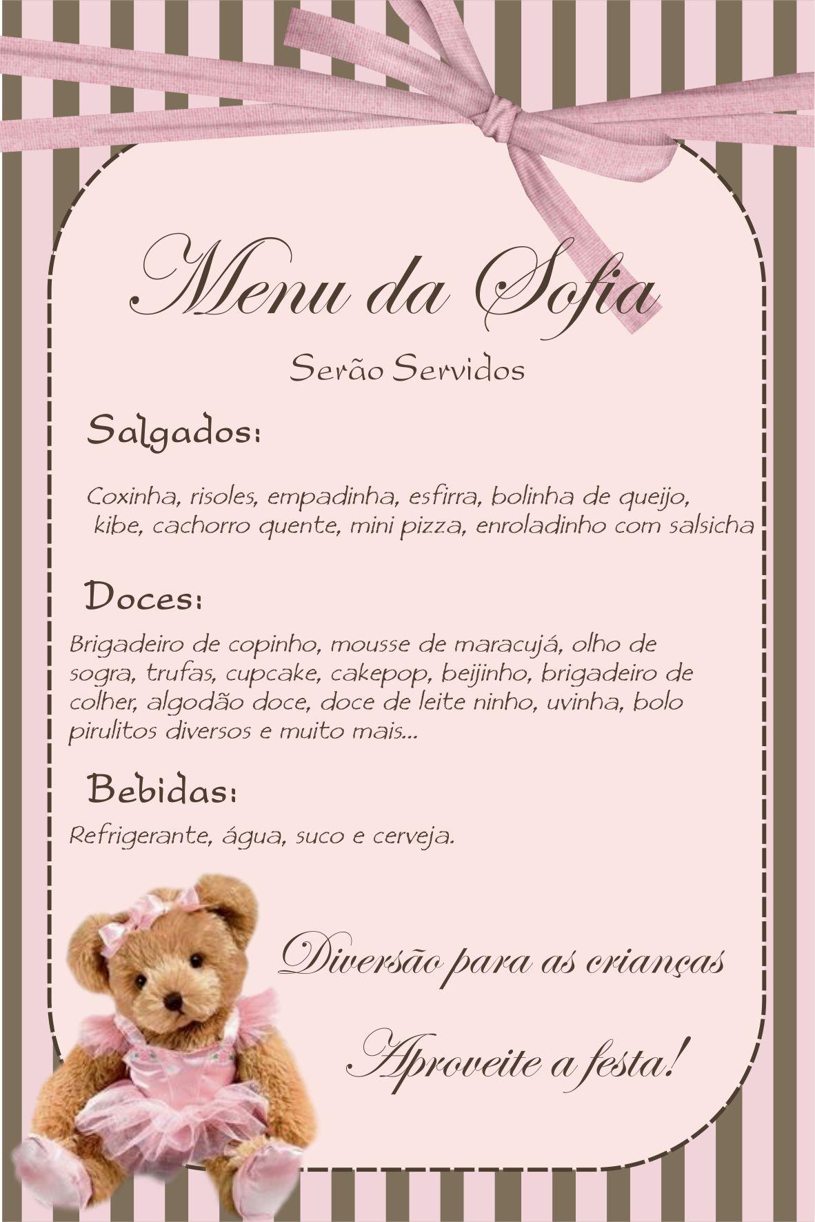 Preferência Cardápio Festa Infantil no Elo7 | ART DECORADA (36A70A) SD62