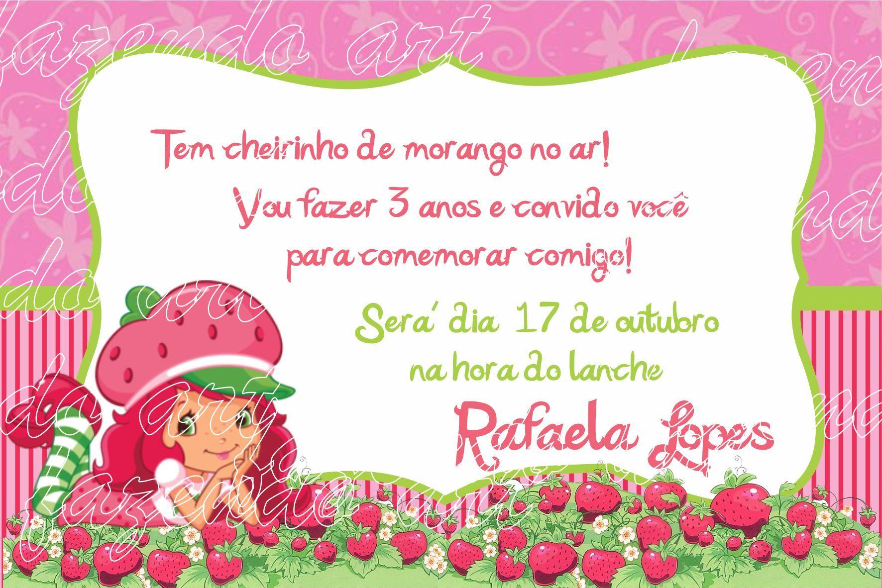 Arte Digital Convite Moranguinho No Elo7 Fazendoart 364128