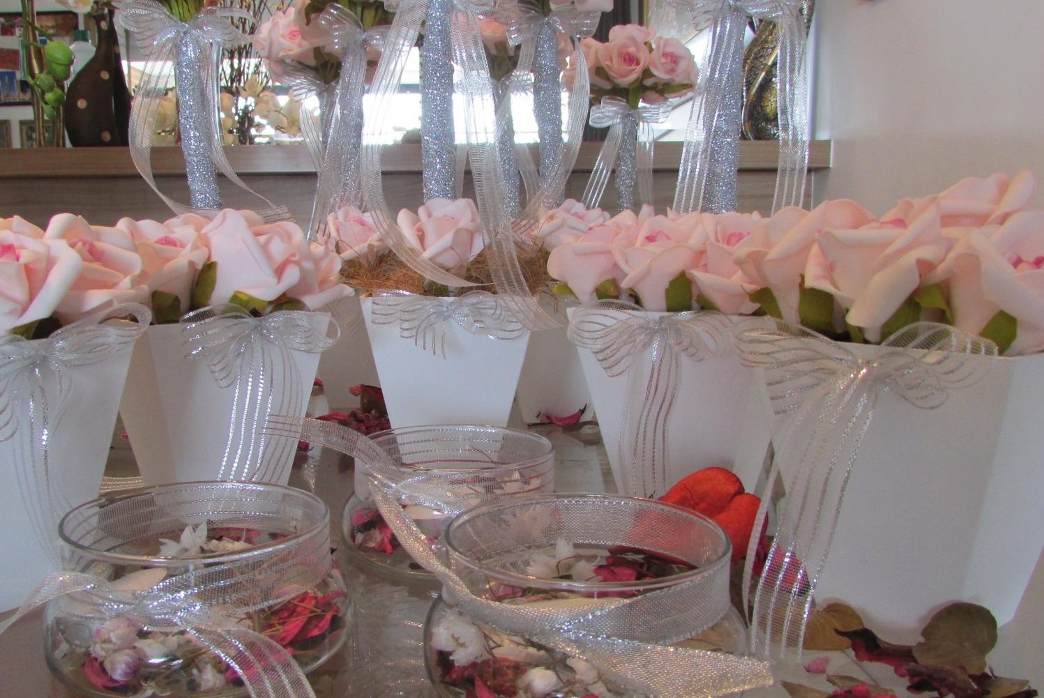 26772bdd7 kit festa prata & rosa-bebê I no Elo7 | Rosamorena Artes Florais (373EE3)