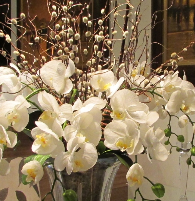 Orqu deas artificiais no vaso de cristal rosamorena artes florais elo7 - Vasos grandes cristal ...