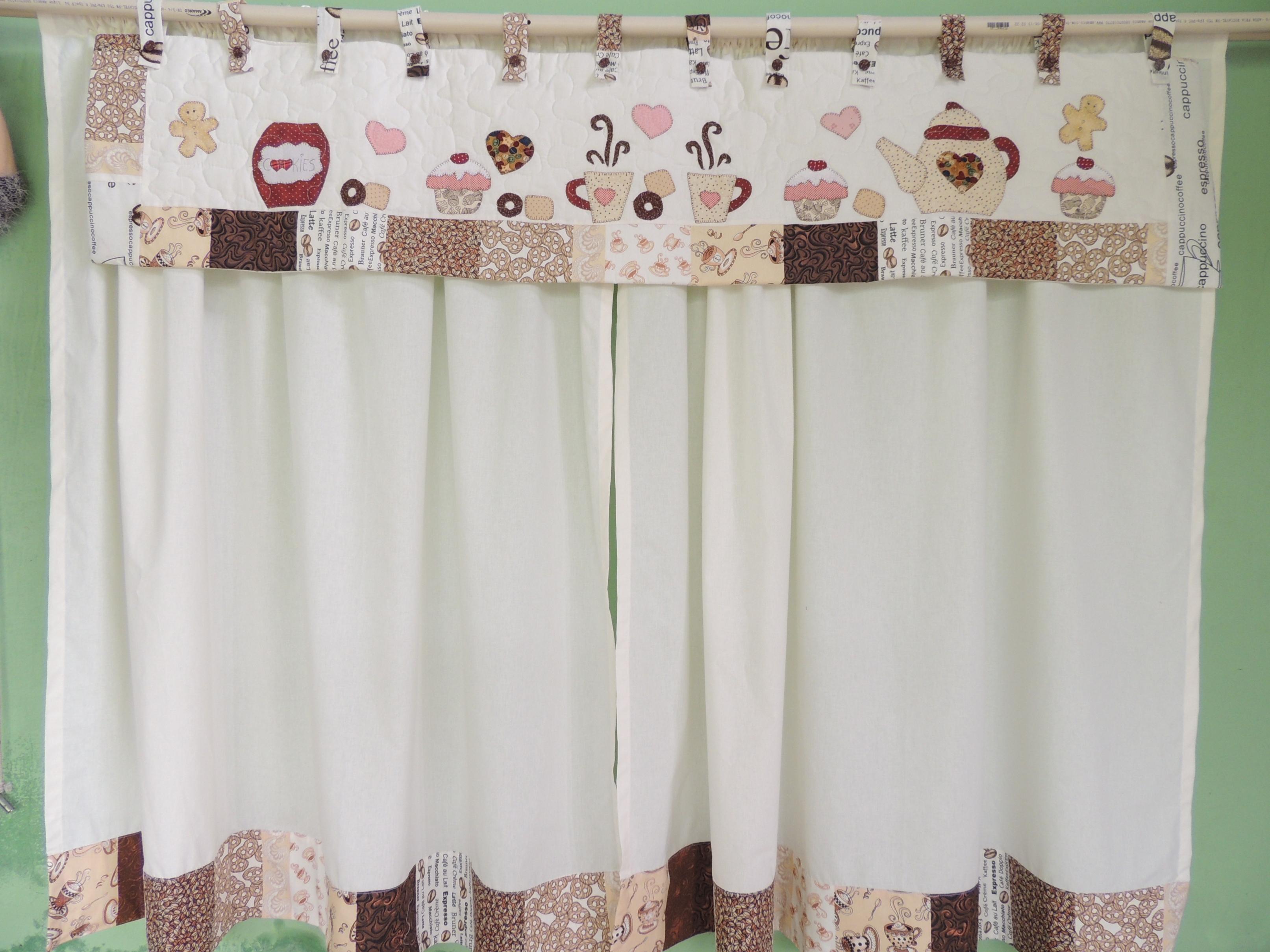 cortina para cozinha Patchwork branco