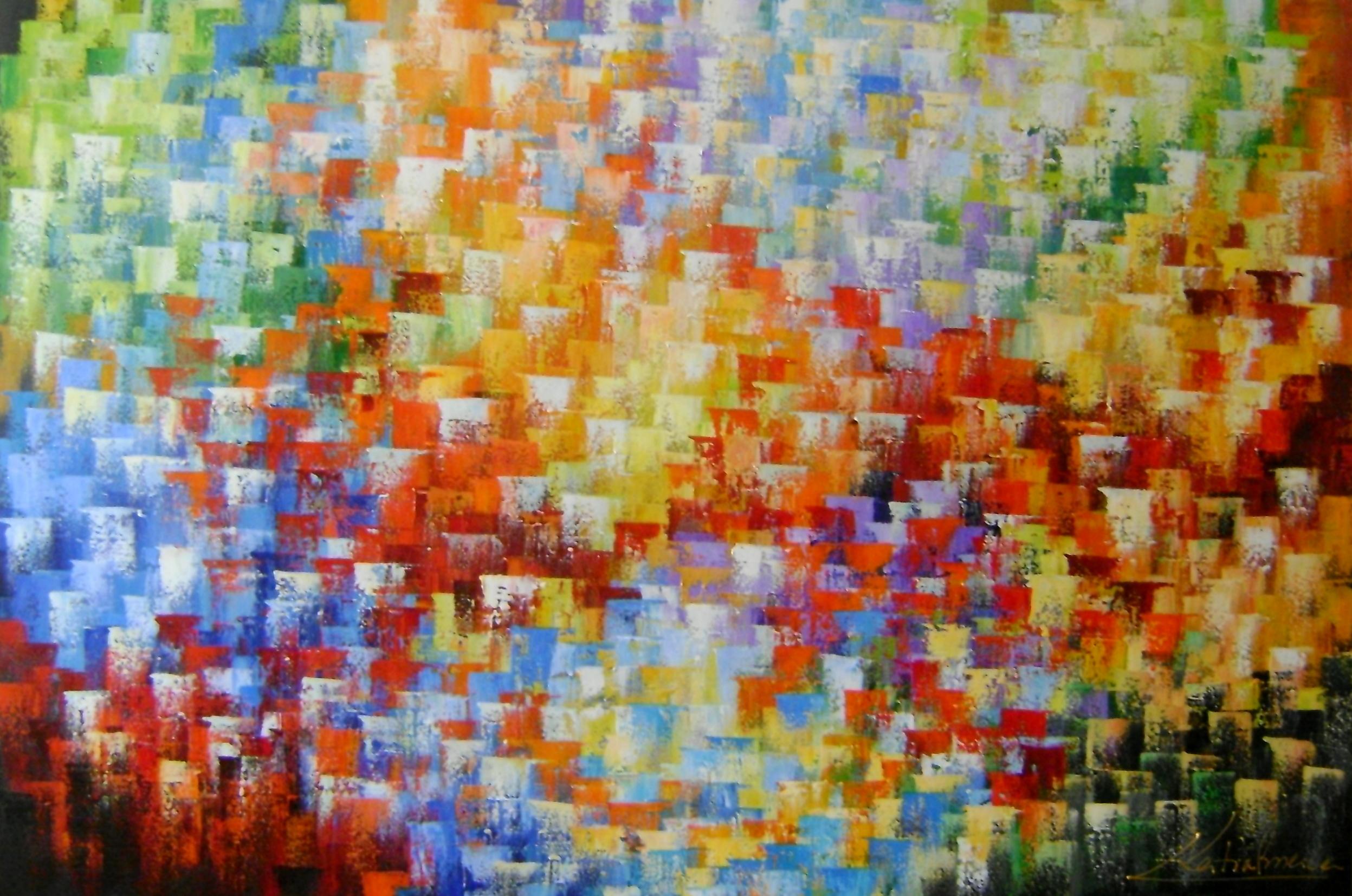 Abstrato Multicores 80x120 Cod 661 No Elo7 Quadros Para Decoracao