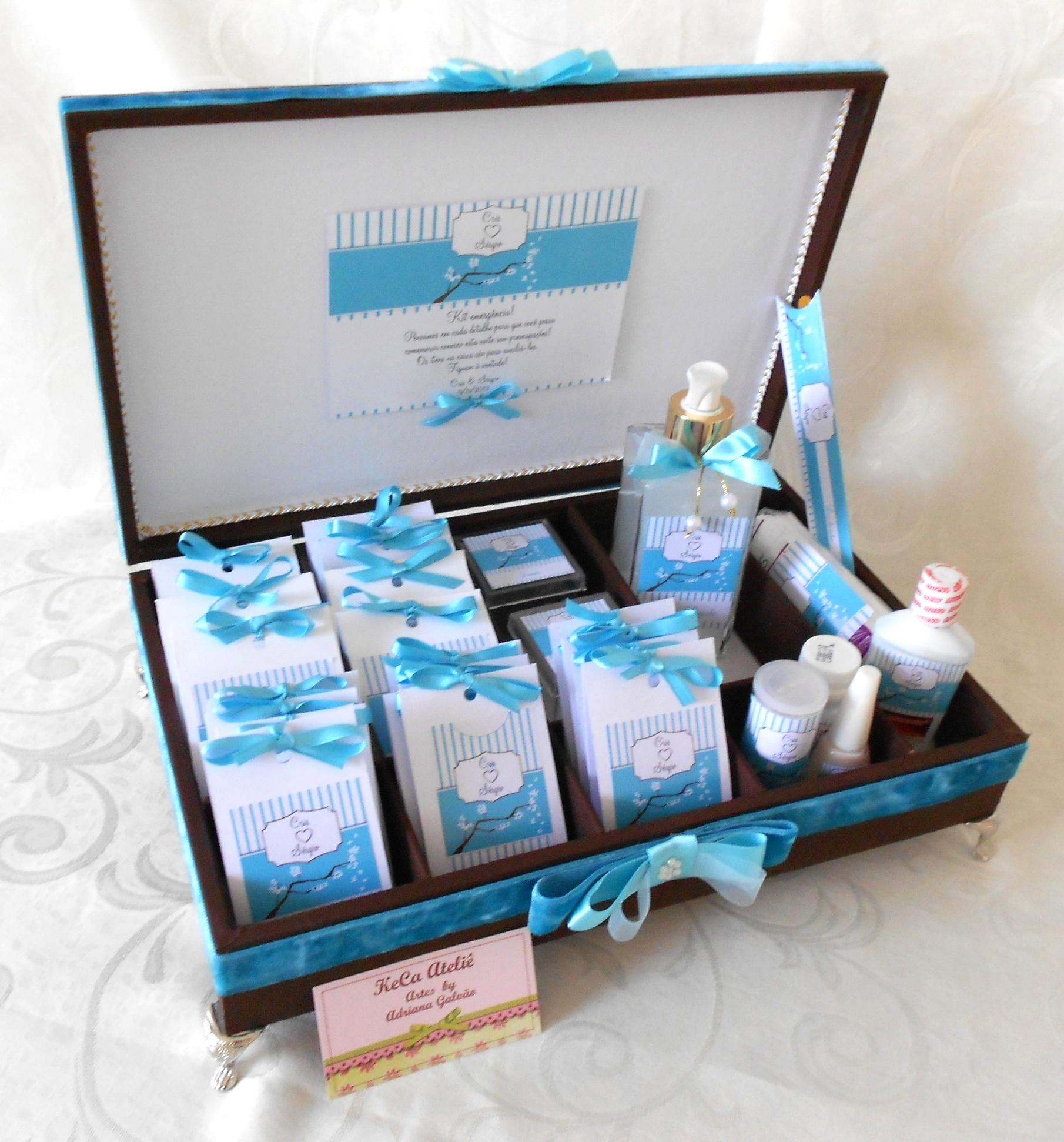 Kit Toalete Marrom e Azul Tiffany   Elo7 9ae46fe8f5
