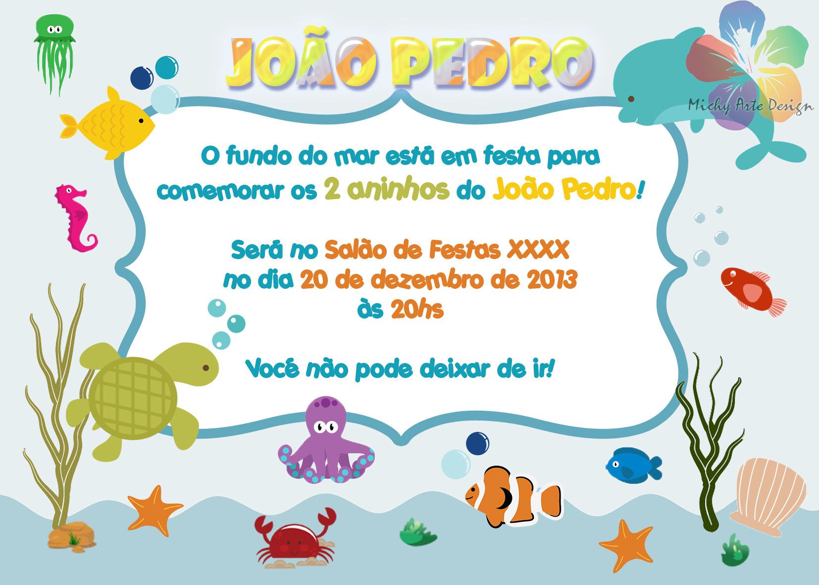 Convite Fundo Do Mar No Elo7 Michy Arte Design 38a532