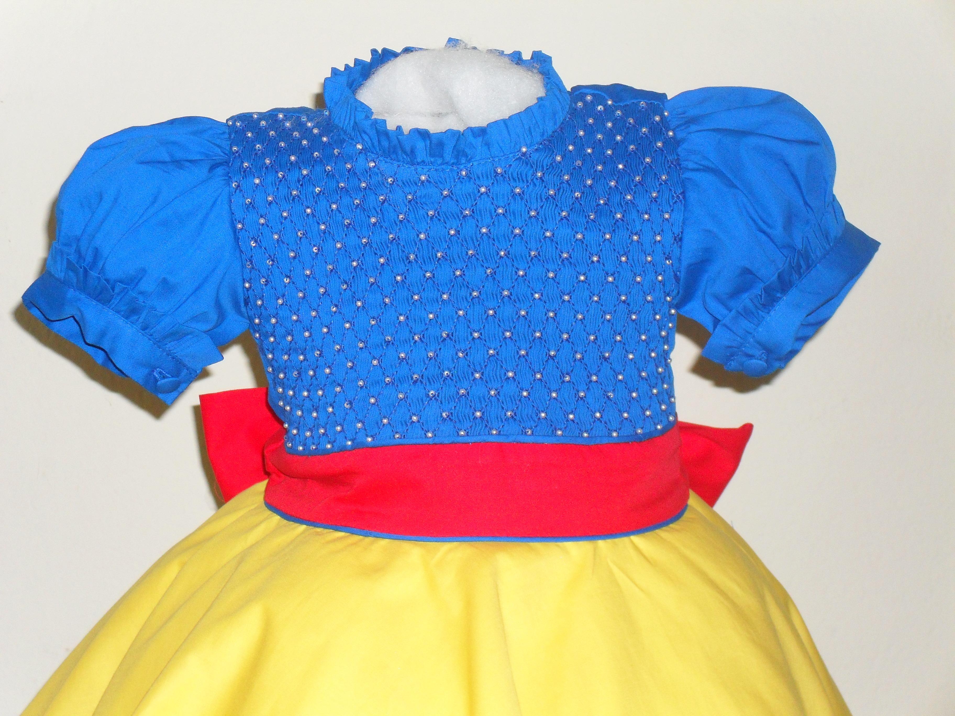 Vestido festa infantil azul e amarelo