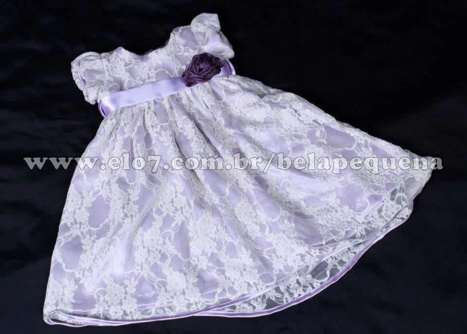 780fd3aa1 Vestido com Renda para Bebê   Elo7