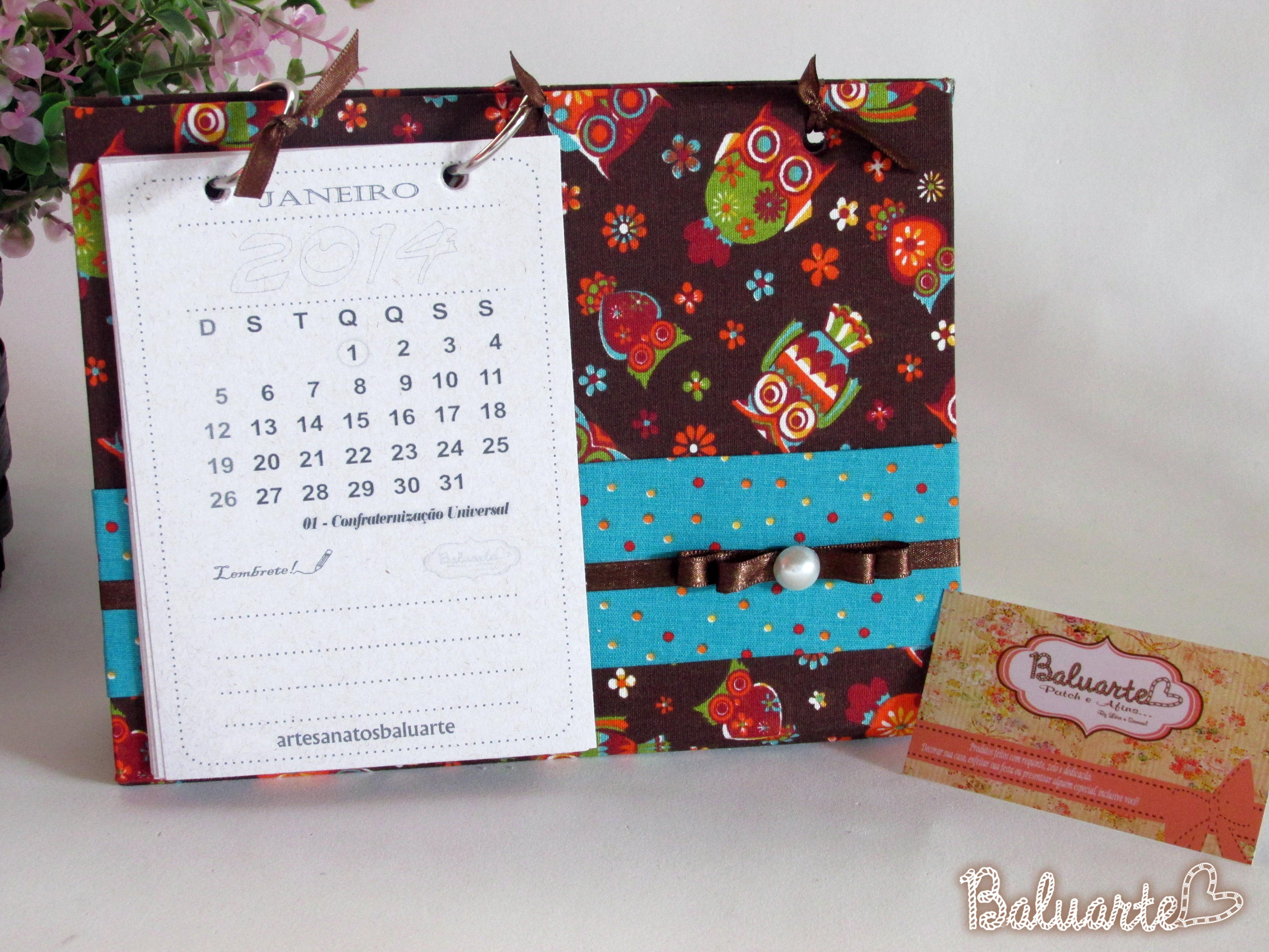 Calend rio de mesa g baluarte patchwork e afins elo7 - Calendario de mesa ...