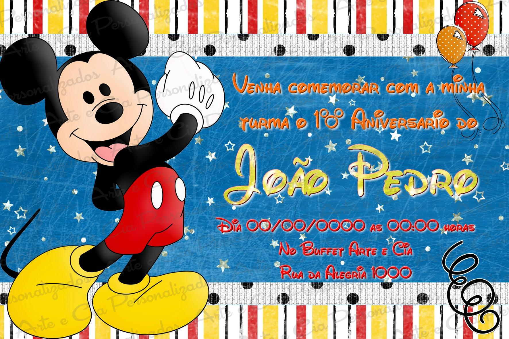 Convite Personalizado Turma Do Mickey 5
