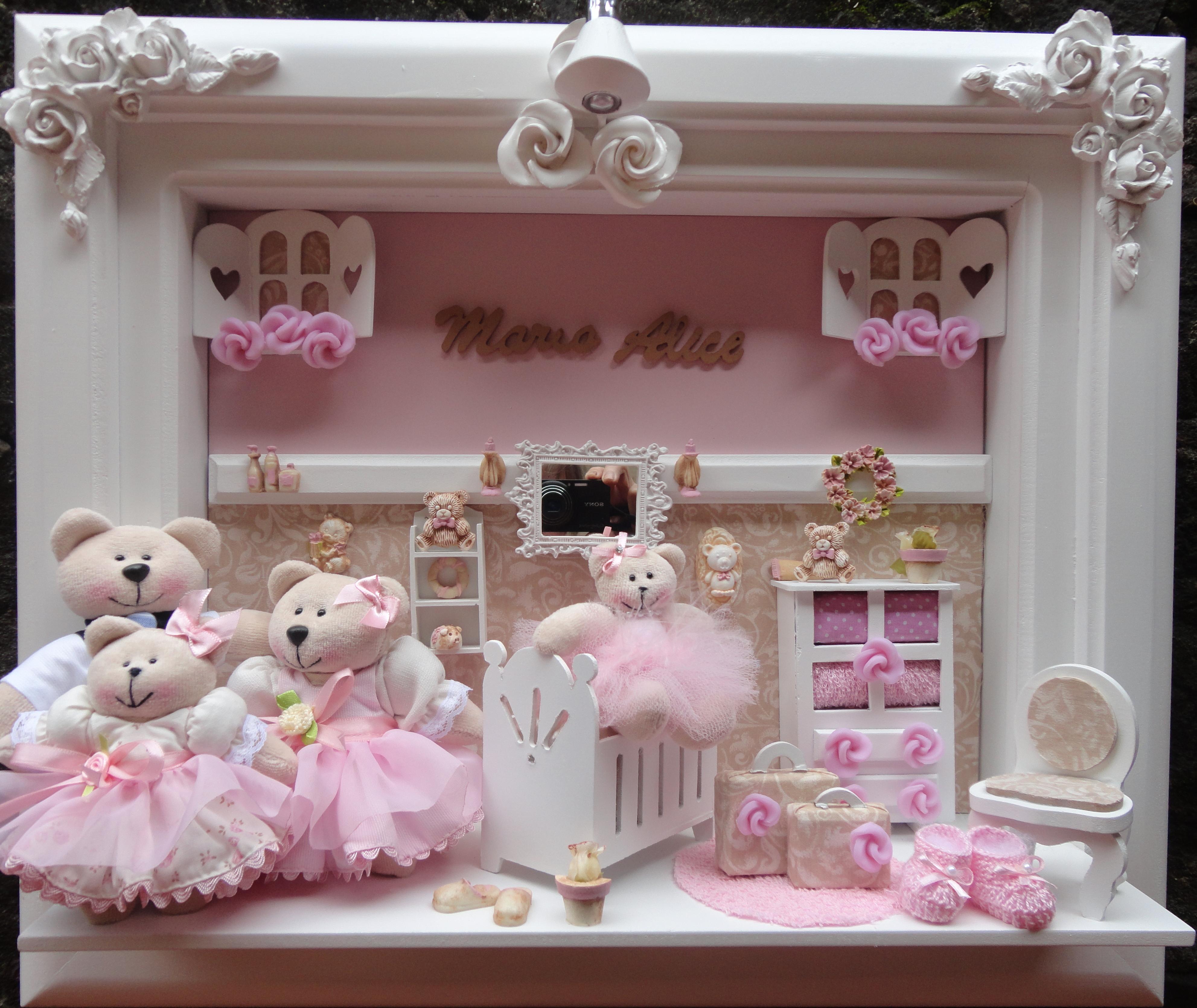 Quadro Maternidade Beb Fam Lia Ursos Beb Feliz Quadros P  ~ Decoração Quarto De Bebe Urso E Tema Quarto Bebe Feminino