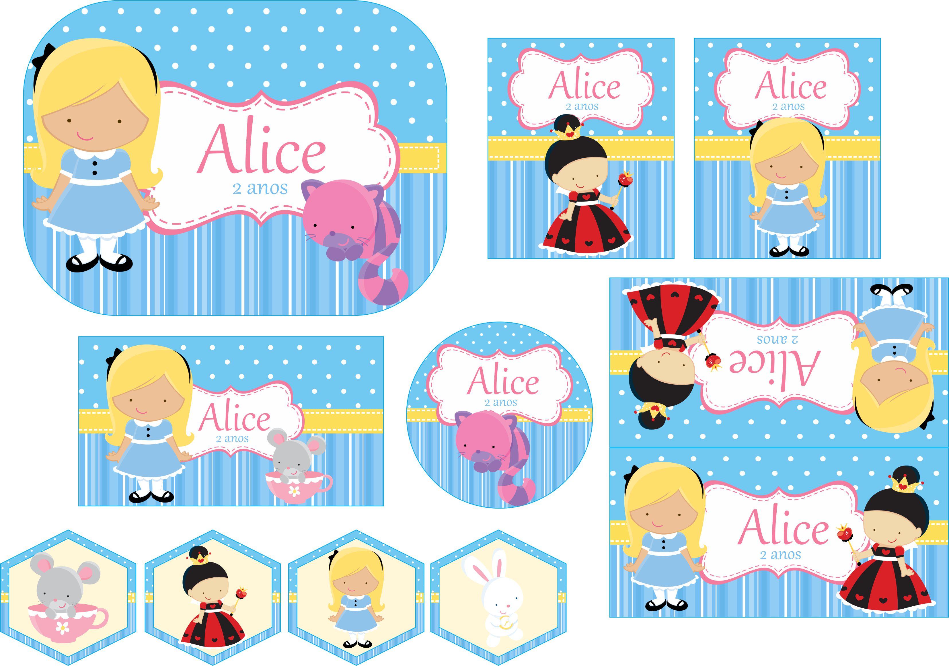 Extremamente Festa Alice no País das Maravilhas   Festa Personalizada da Mamae  DQ49