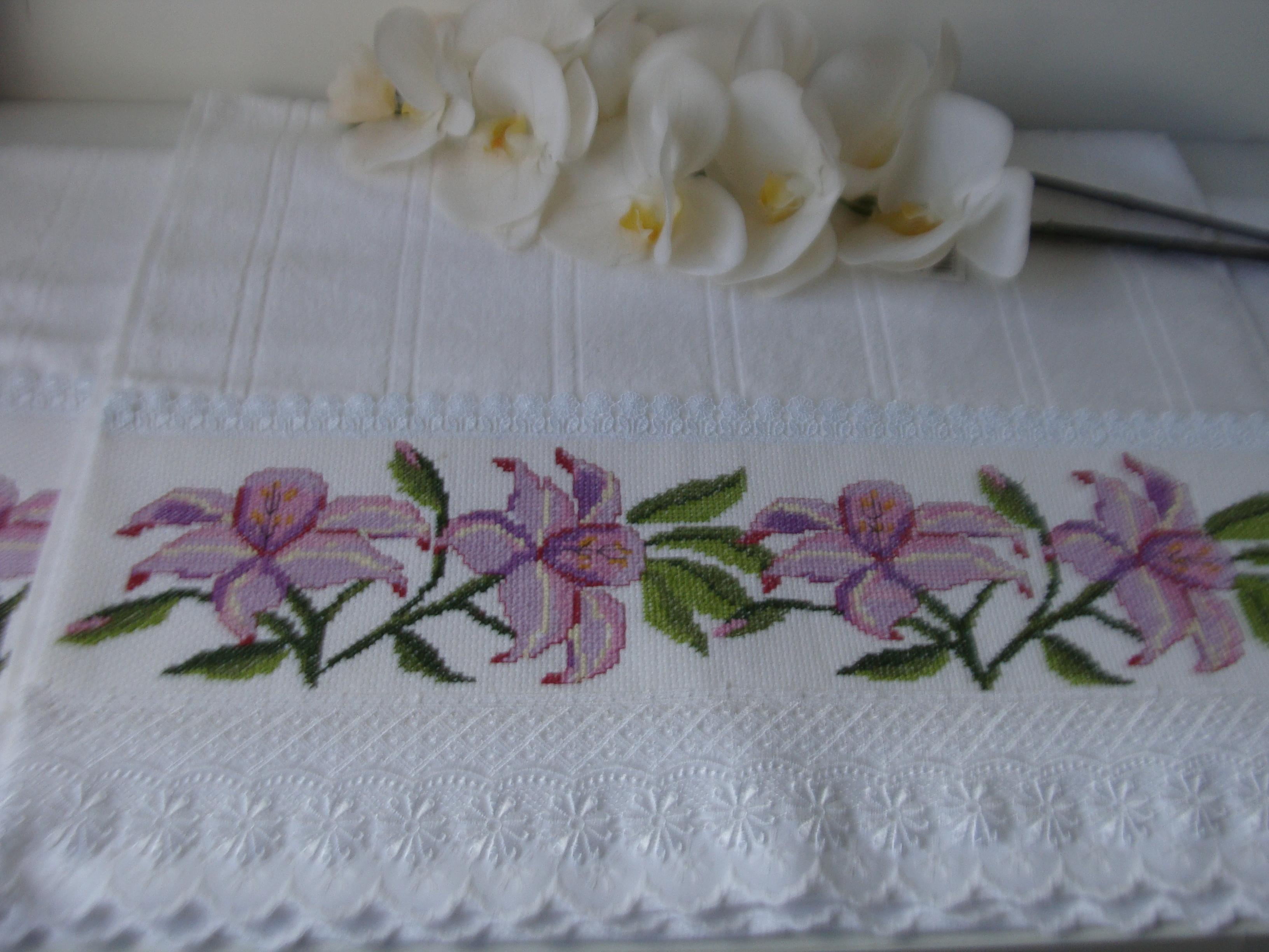 conjunto,de,toalhas,orquideas,bordados