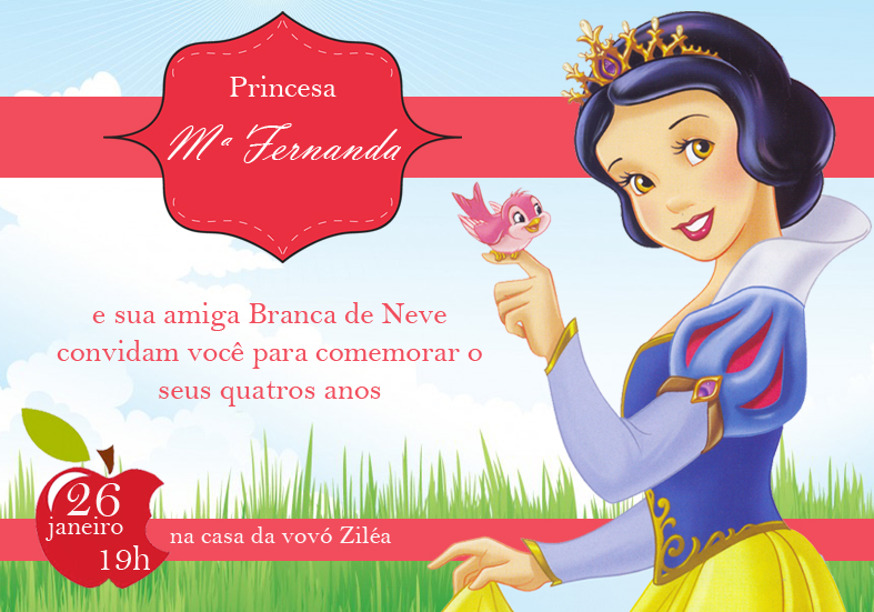 Convite Branca De Neve 10x7 Elo7