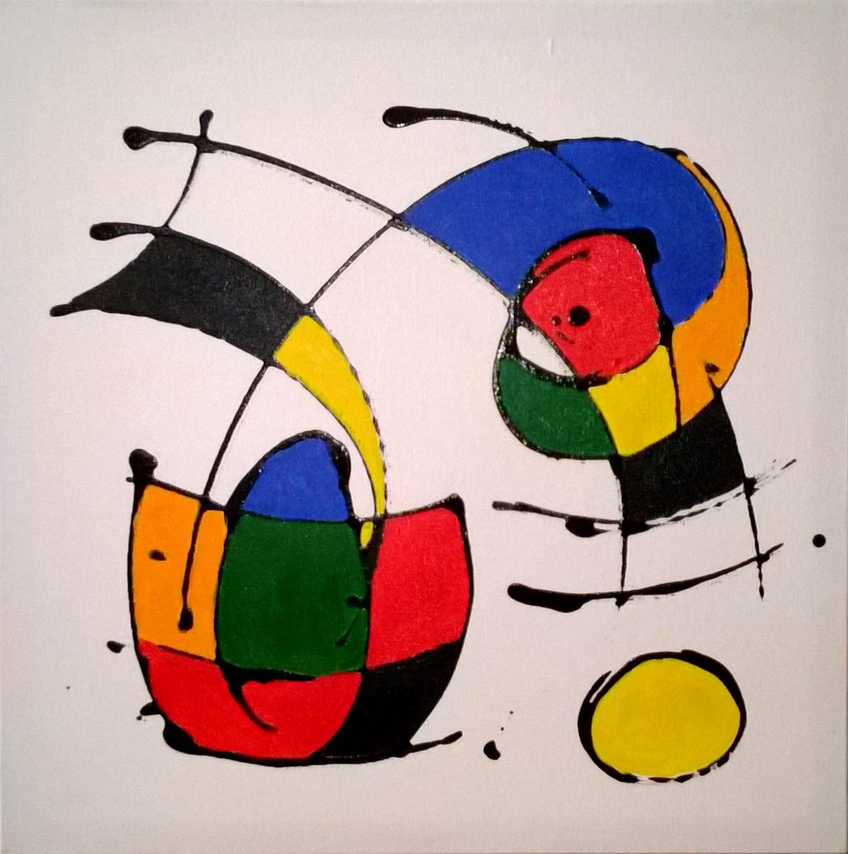 Releitura Miró 40x40 Cod 683 | KATIA ALMEIDA - PINTURAS EM TELAS ...