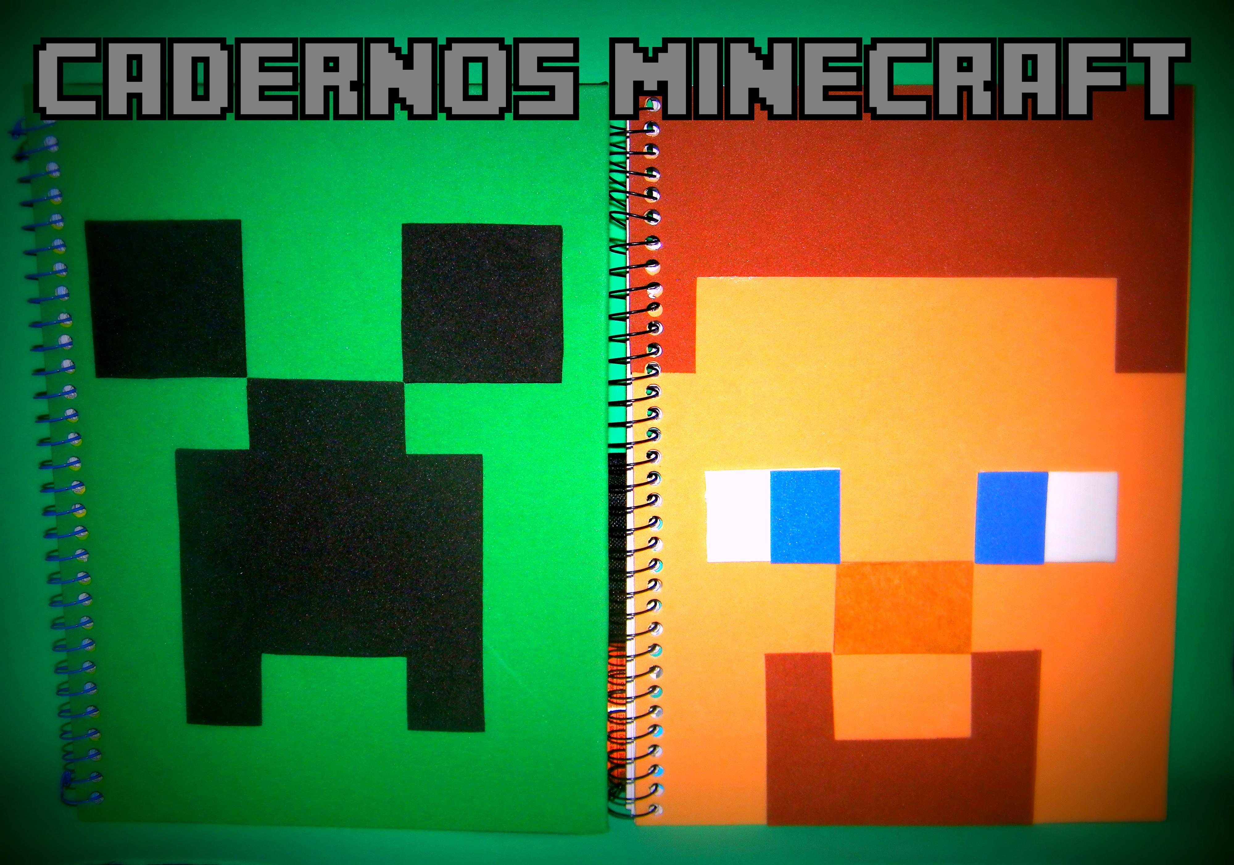 Caderno Minecraft Creeper Ou Steve