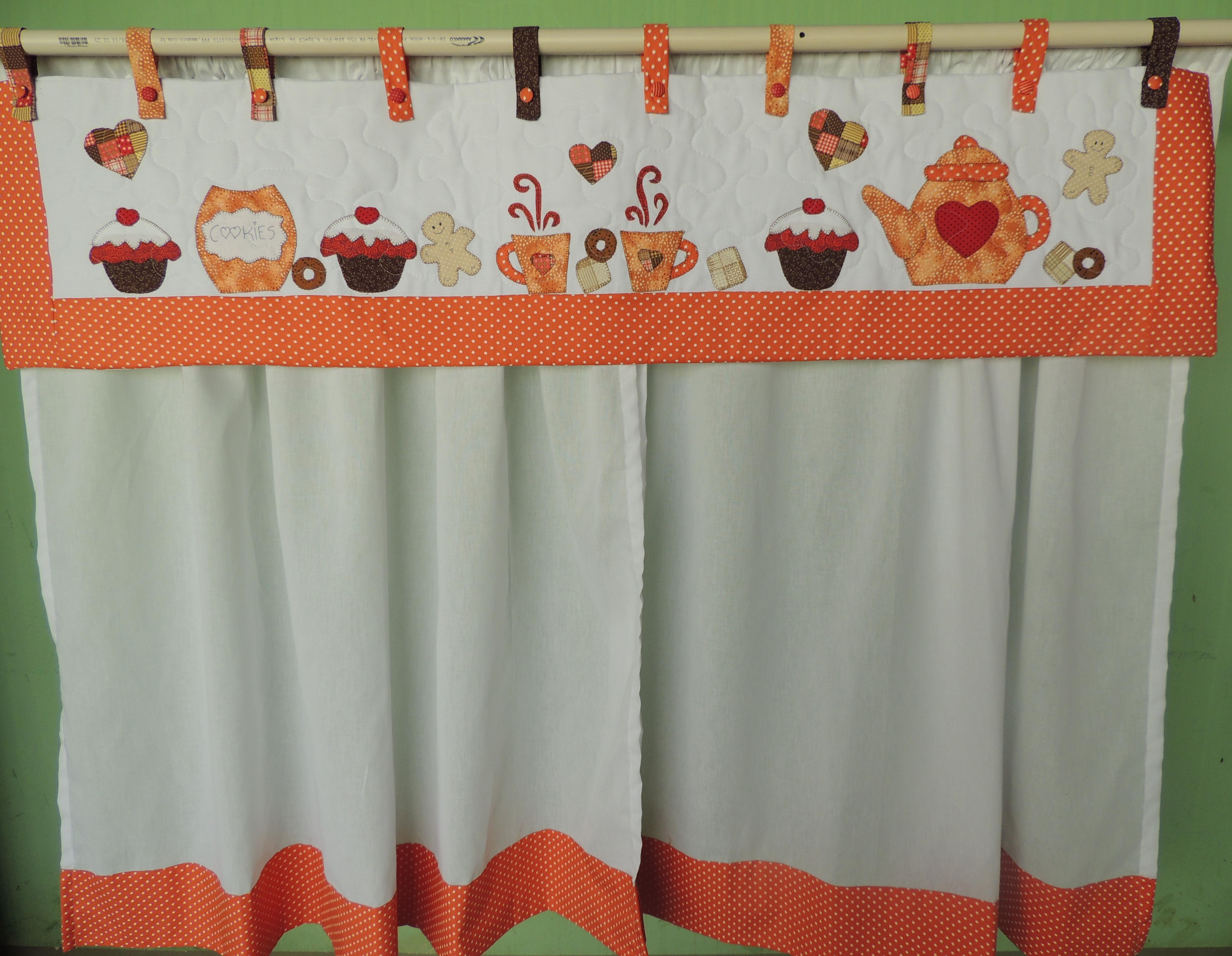 cortina para cozinha Patchwork laranja