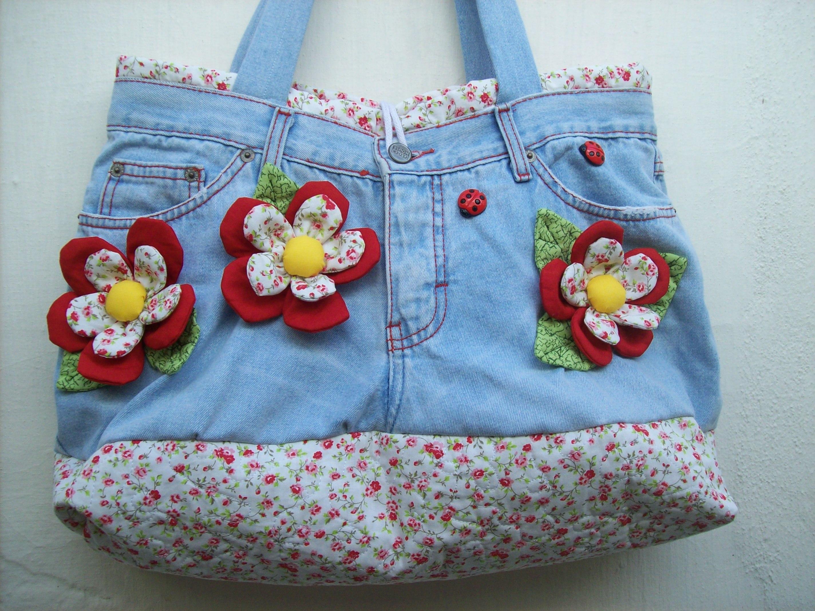 Bolsa De Tecido Artesanal : Bolsa jeans quot flowers dianne pedrosa elo