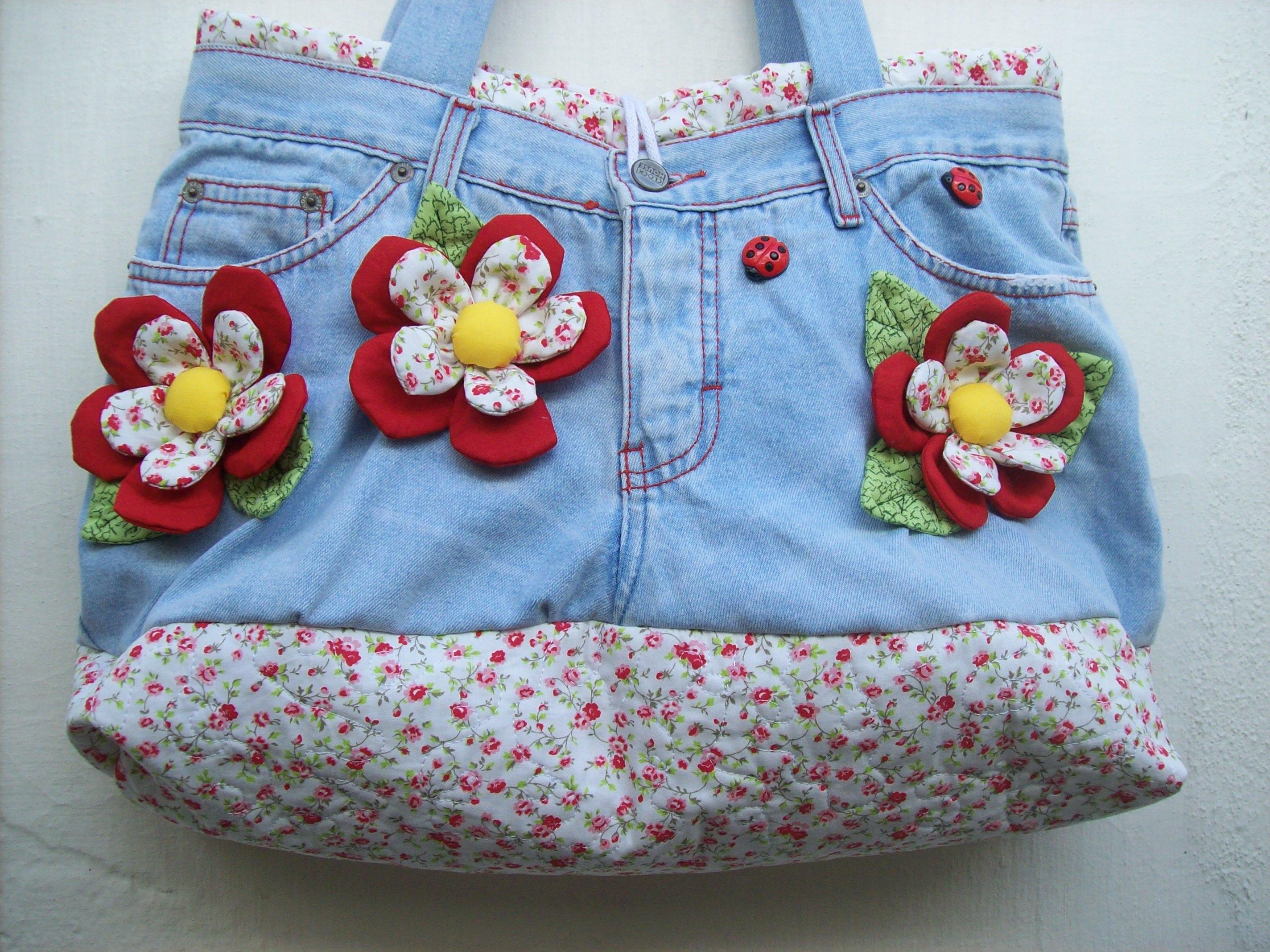 Bolsa De Tecido E Jeans : Bolsa jeans quot flowers dianne pedrosa elo