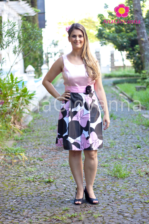 f68108026e Vestido Rosa com Marrom Adulto