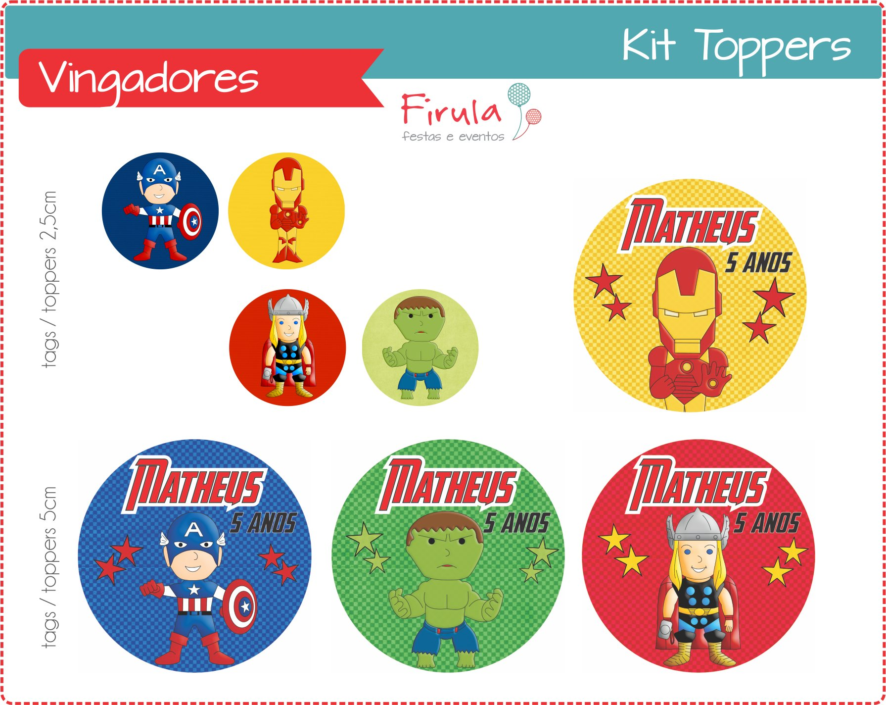 Kit Toppers Tags Vingadores No Elo7 Firula Festas 31034e