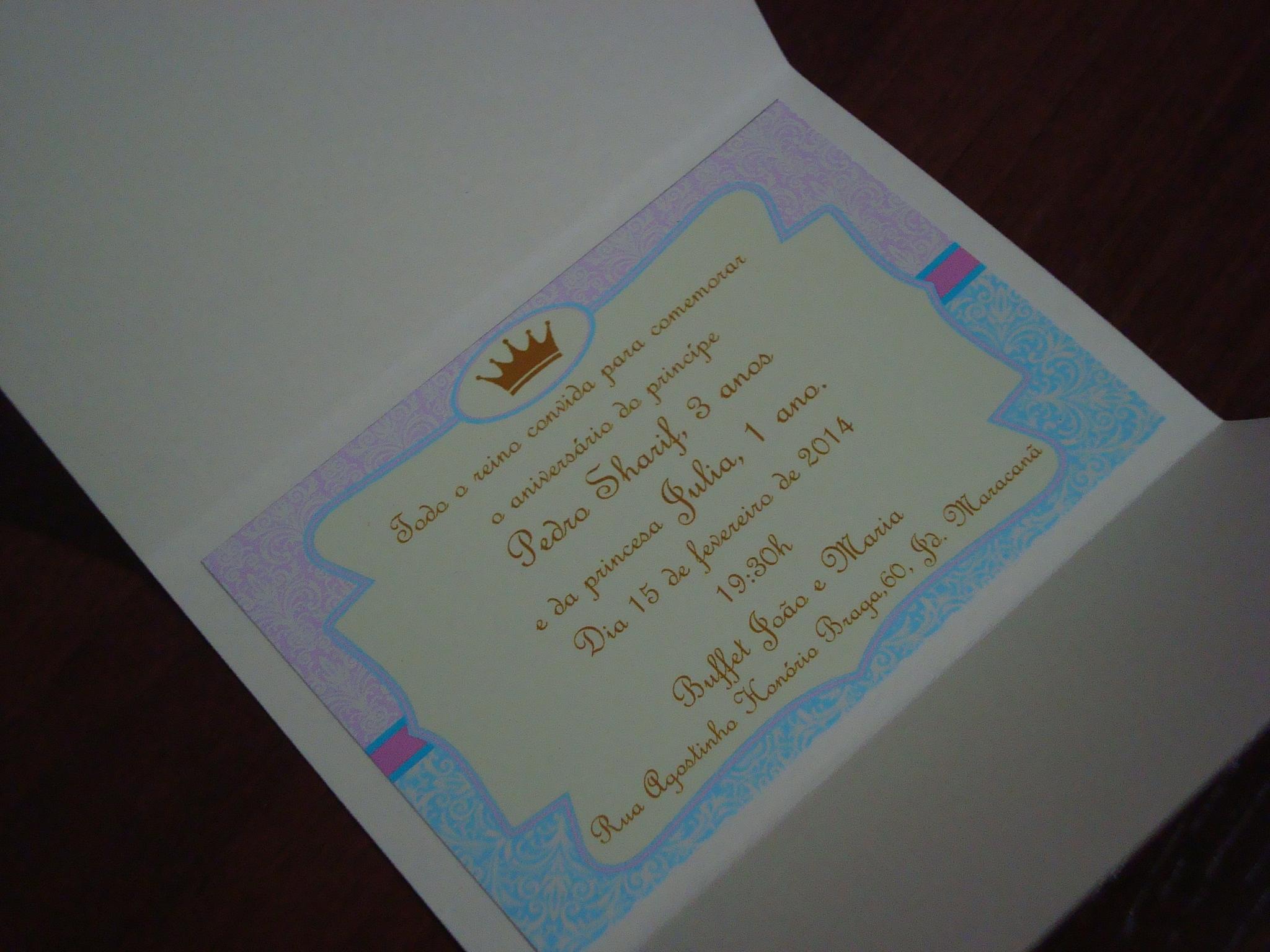 Preferência Convite Personalizado Príncipe e Princesa no Elo7 | Fazendoart  ZX71