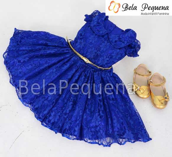 3adfebea0 Lindo Vestido de Renda Infantil Azul no Elo7