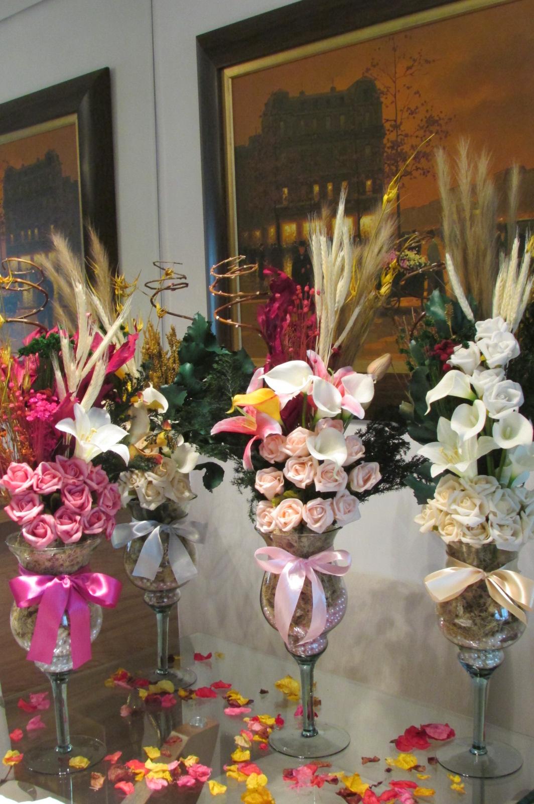 Enfeite De Taça ~ kit 4 arranjos na taça com pérolas Rosamorena Artes Florais Elo7