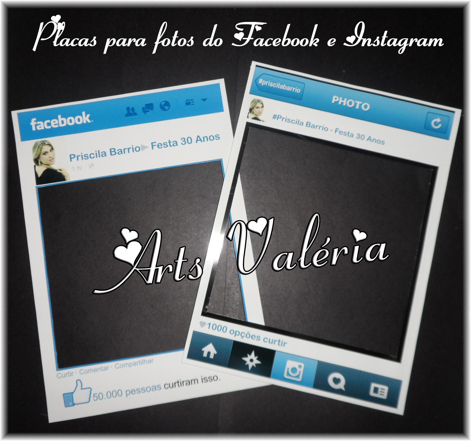 moldura instagram ou facebook ou caras arts valeria personalizados elo7. Black Bedroom Furniture Sets. Home Design Ideas