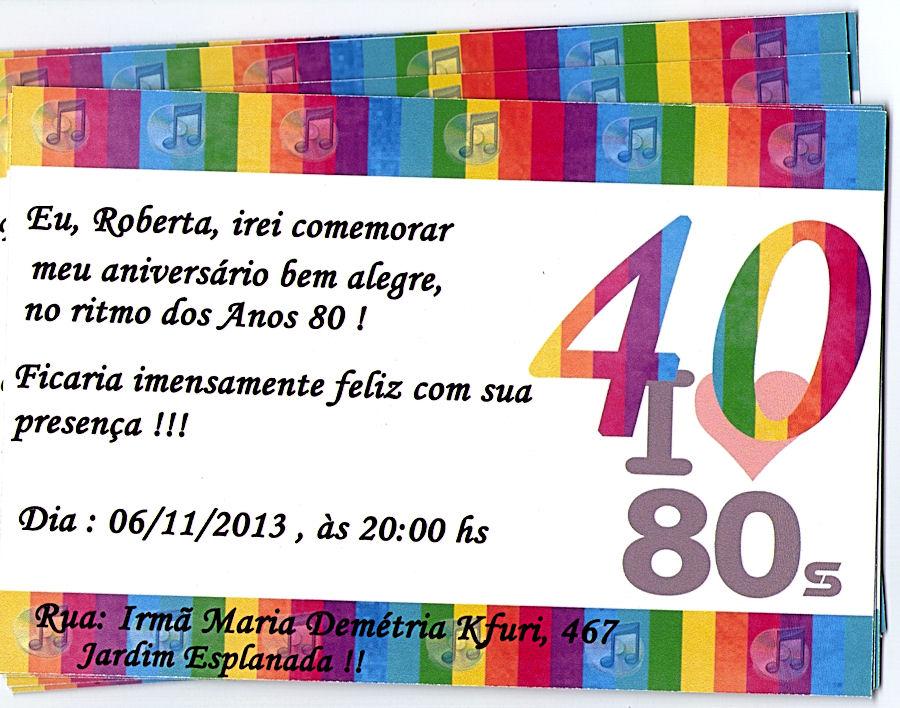 Convite 40 Anos Elo7