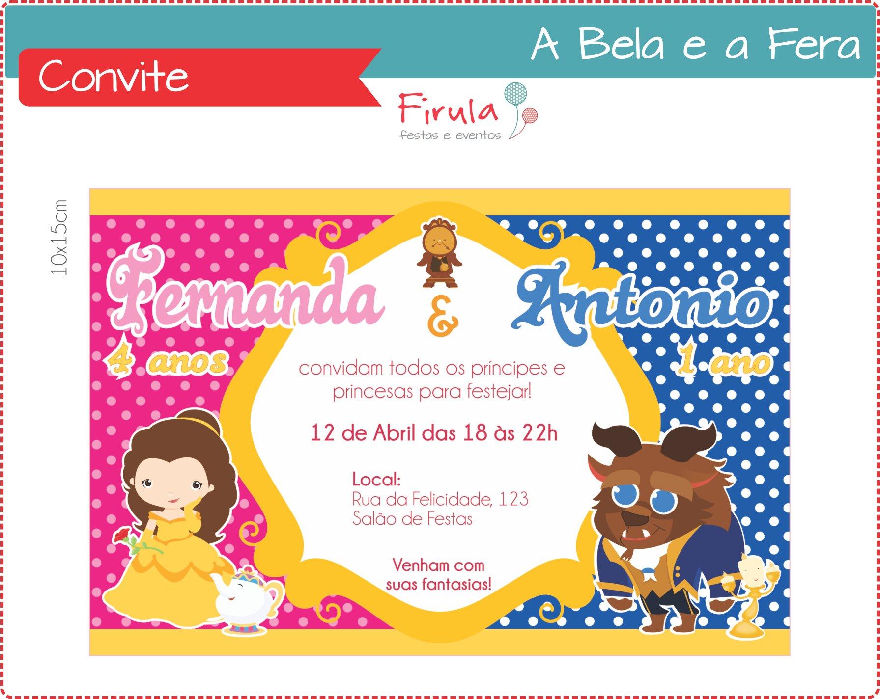 Convite Com A Bela E A Fera Elo7