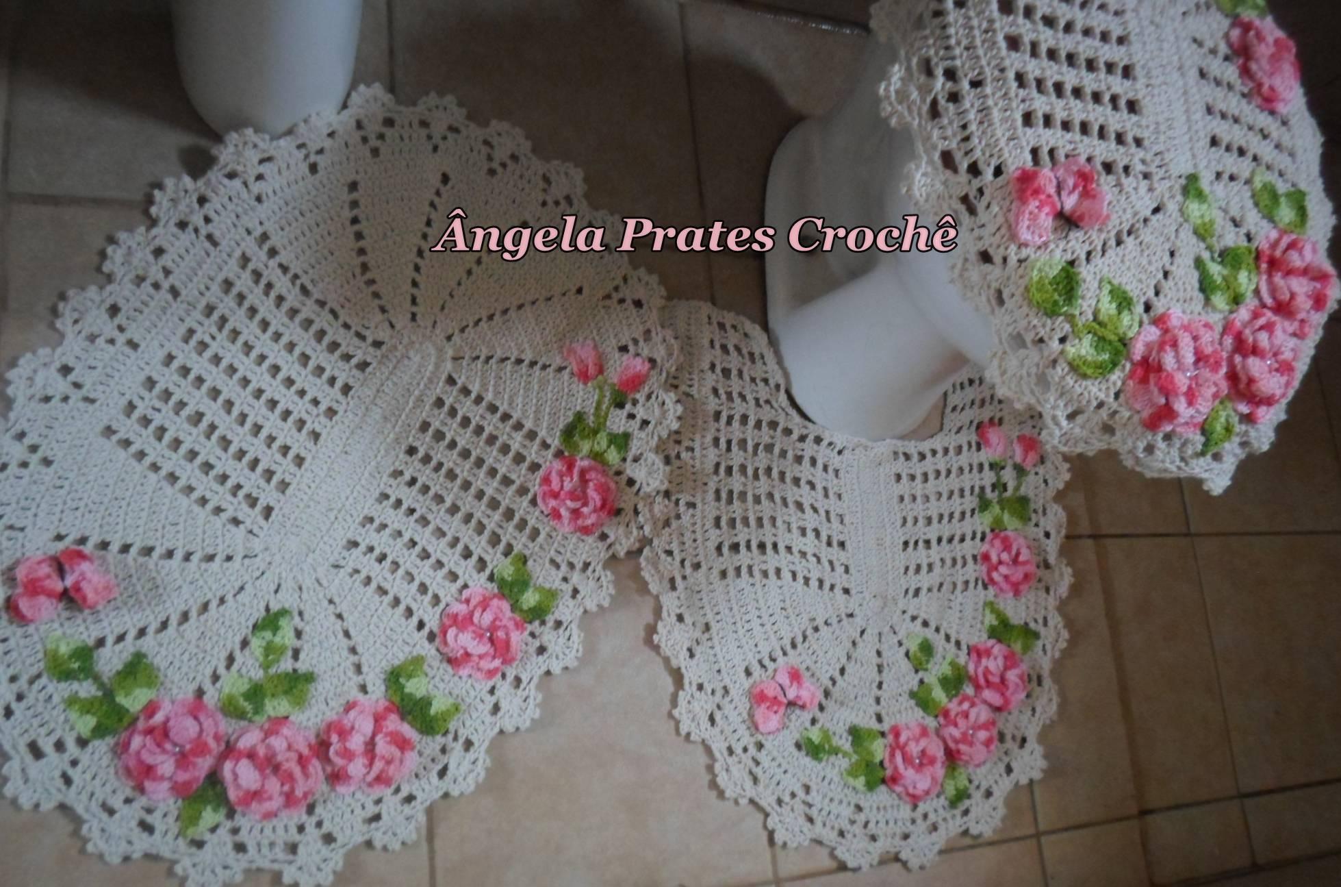 Jogo de banheiro flores rosas  Ângela Prates Crochê  Elo7 # Jogo De Banheiro Simples Oval Passo A Passo