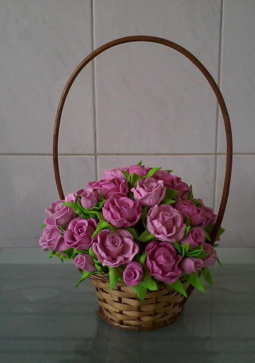 Cesta de Flores com Rosas em Eva  Idéias e Cores Decor  Elo7