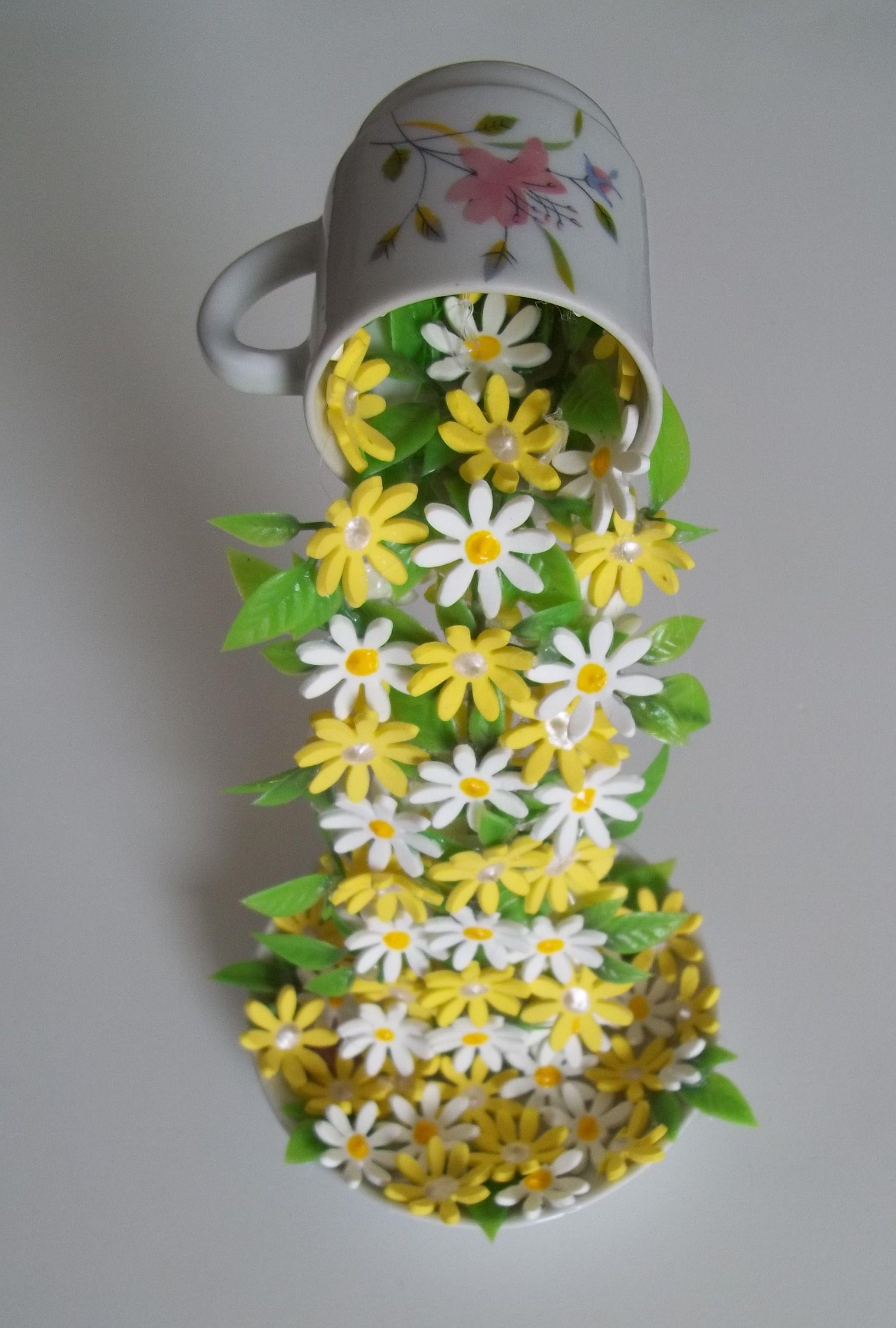 Enfeite De Xicara ~ Xícara Decorada Com Flores em Eva Idéias e Cores Decor Elo7