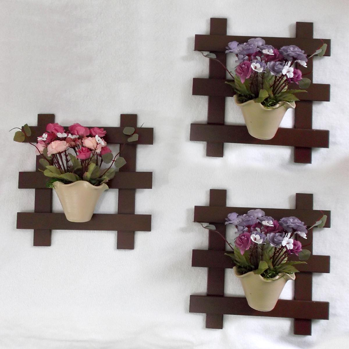 Muitas vezes Trio de Treliça com Vaso de Flor no Elo7   Toque de Amor Presentes  TB74