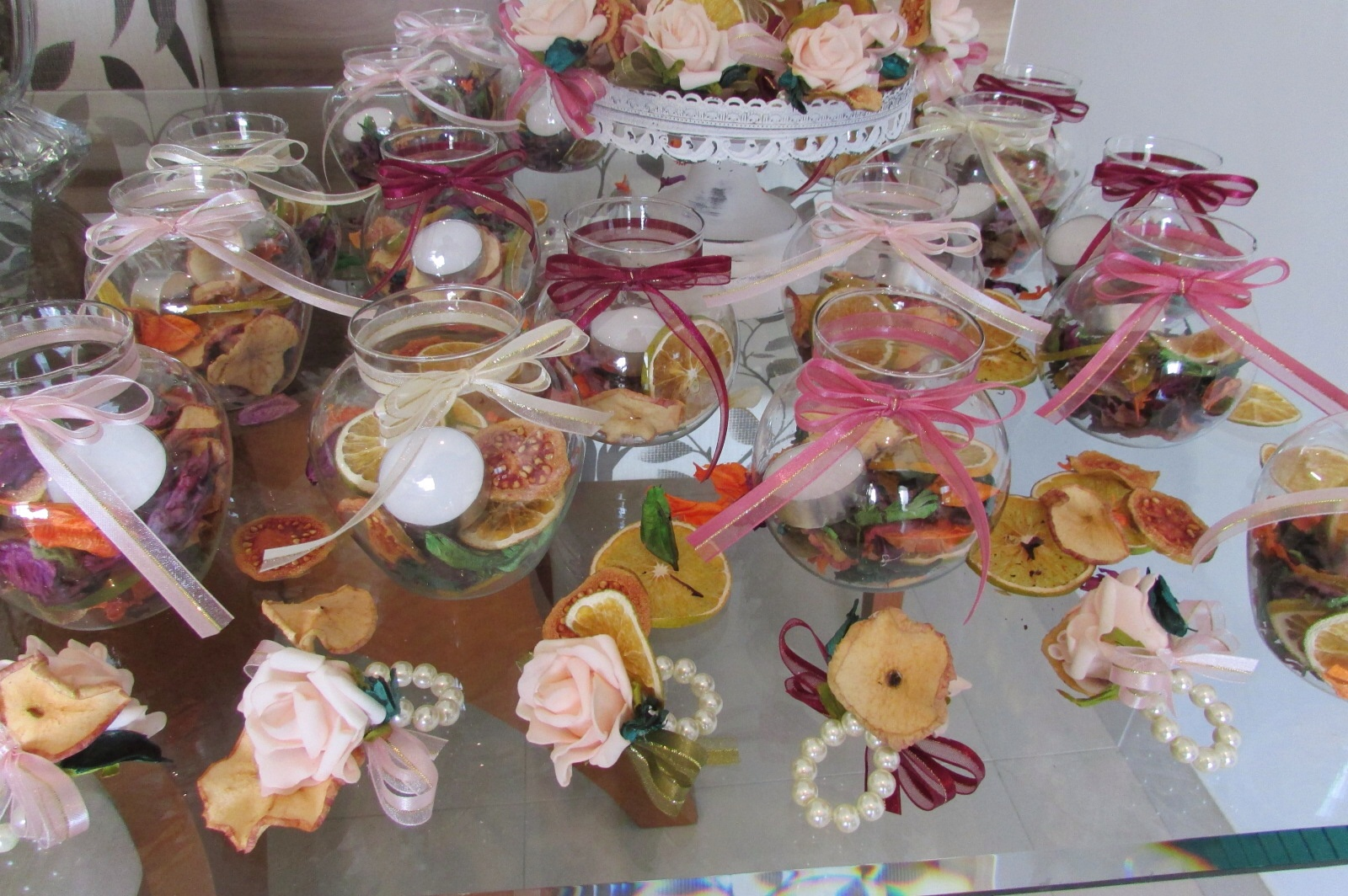 kit frutas secas velas& porta guardanapo Rosamorena Artes Florais Elo7 -> Decoração De Frutas Para Mesa