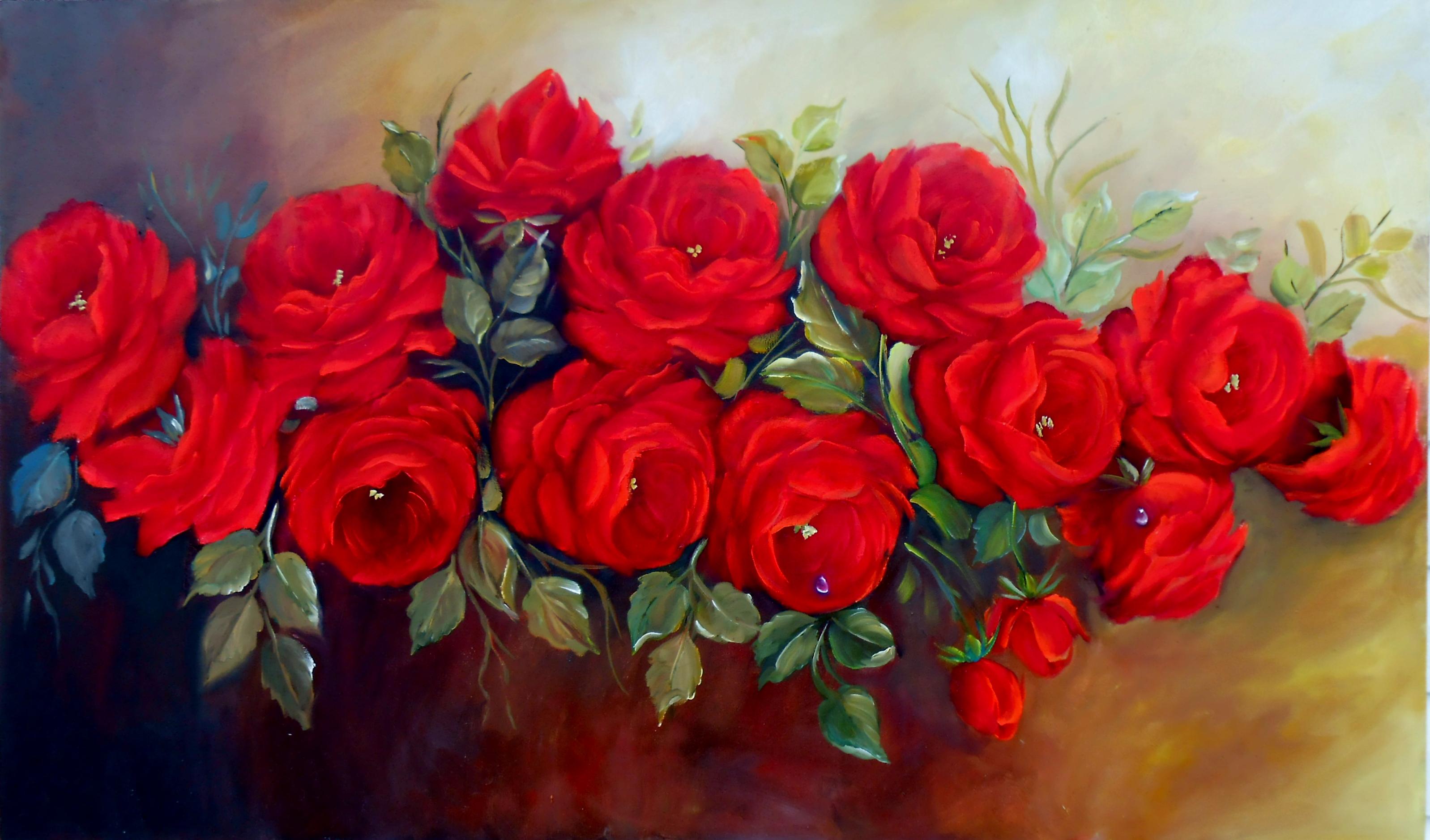 Resultado de imagem para flores vermelha pintura