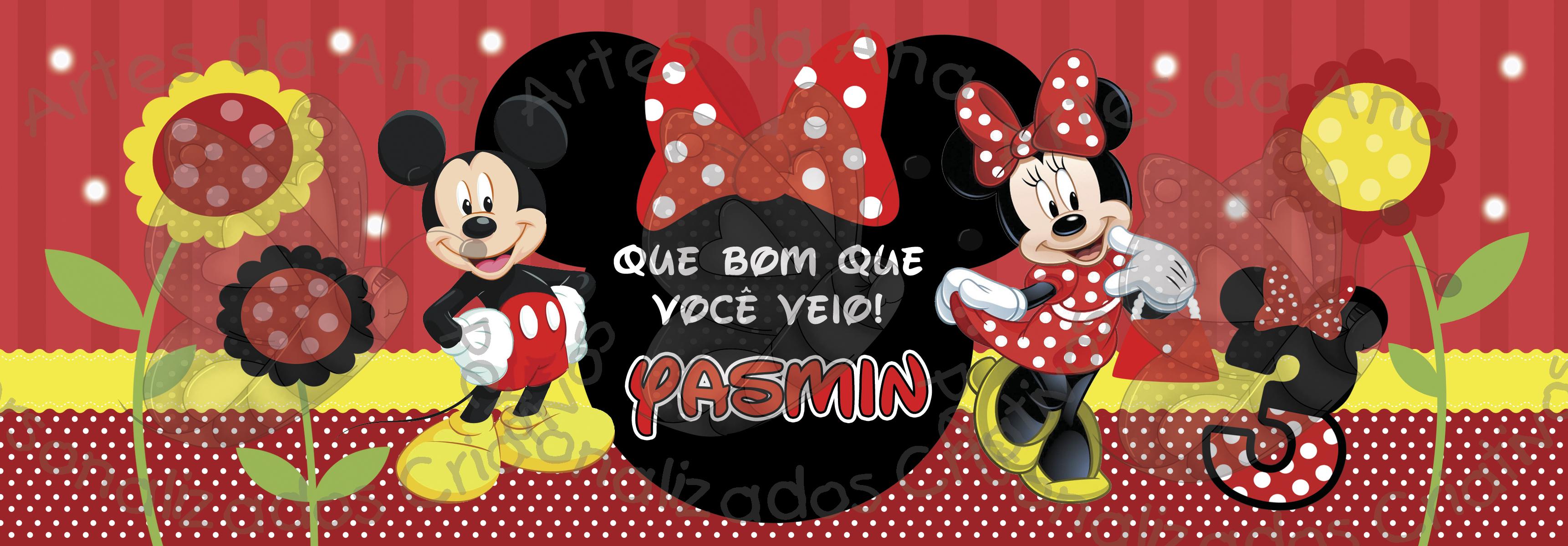 Papel De Parede Adesivo Herois ~ Mickey e Minnie Rótulo Lata Ninho Artes da Ana Personalizados Criativos Elo7