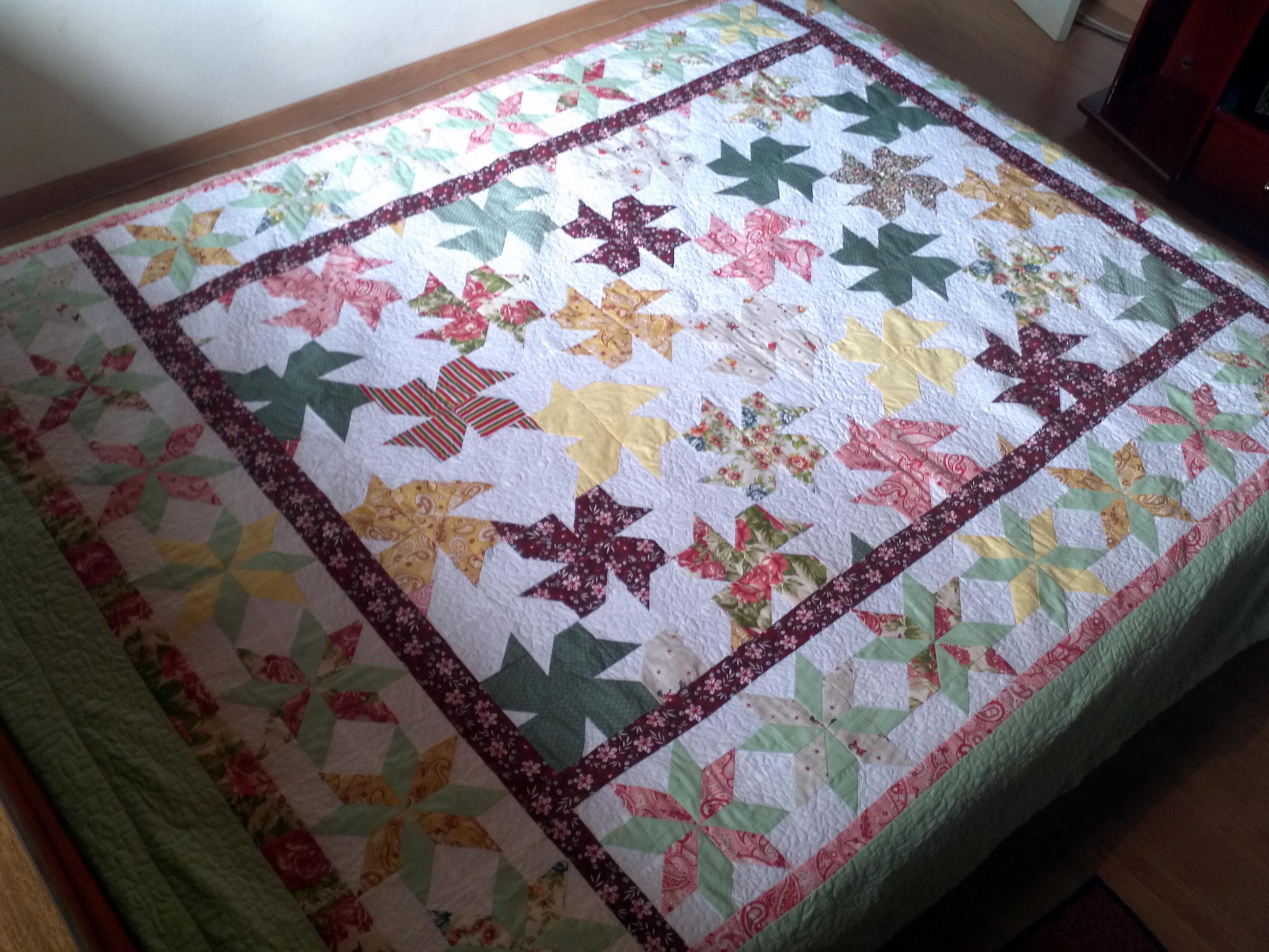 Colcha patchwork casal catavento ateli vipolly patchwork elo7 - Colcha patchwork ...