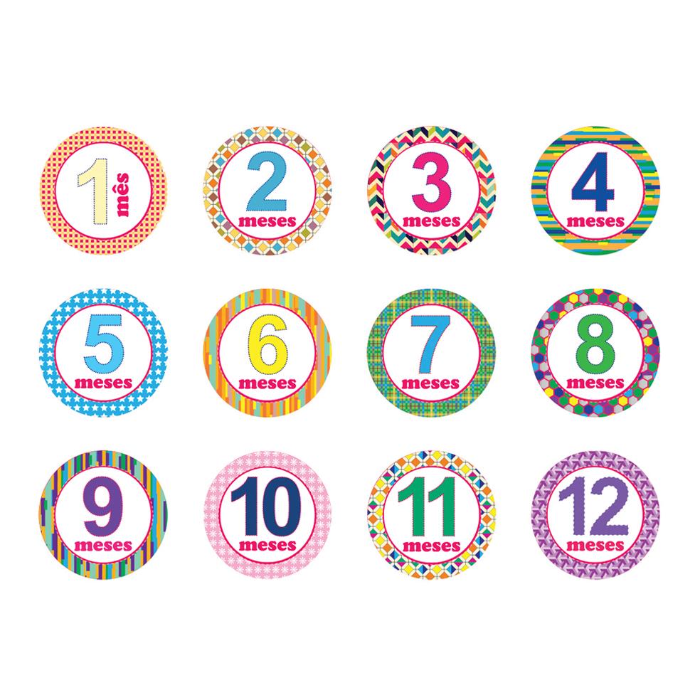 Adesivo 1 ate 12 Meses Bebes - Feminino | Grugrudada | Elo7