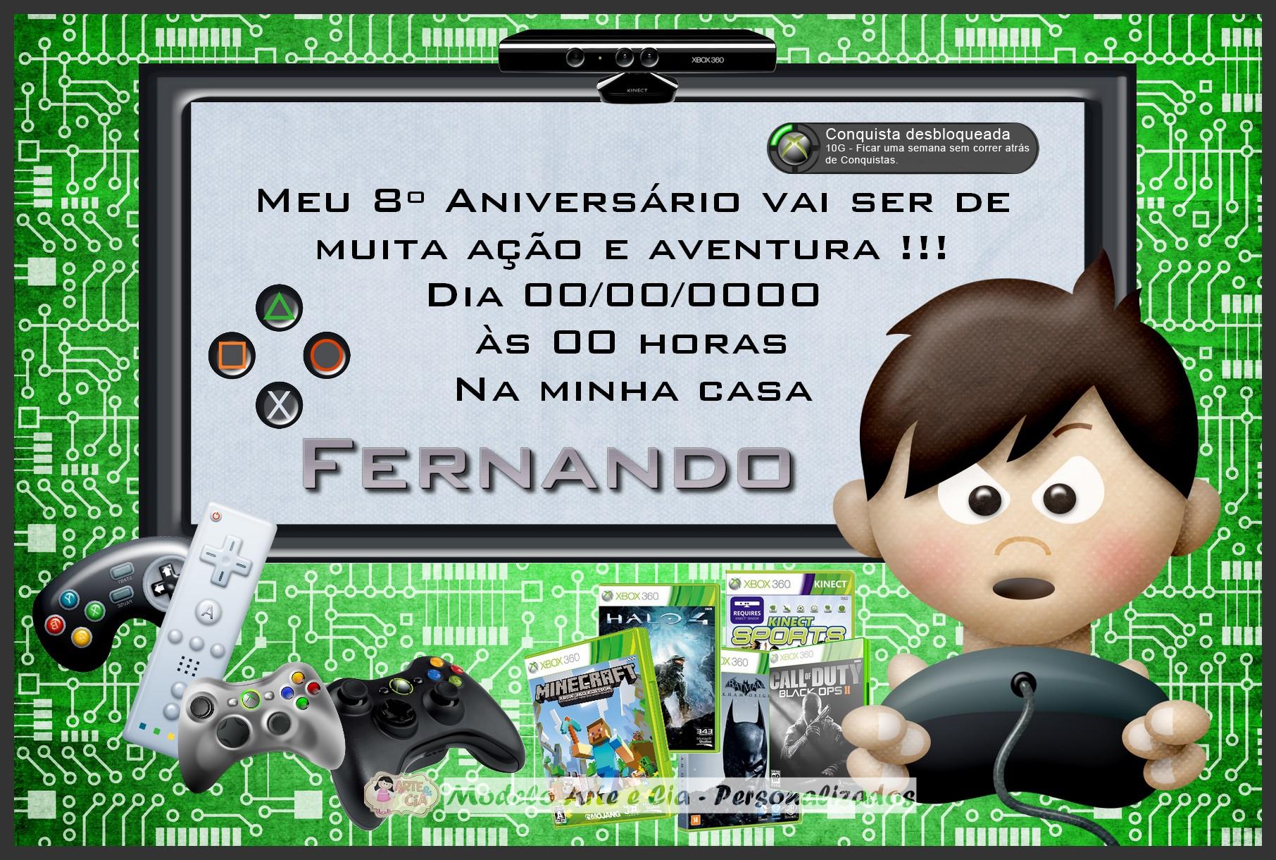 Enfeite Xbox ~ Convite Video Game Arte e Cia Personalizados Elo7
