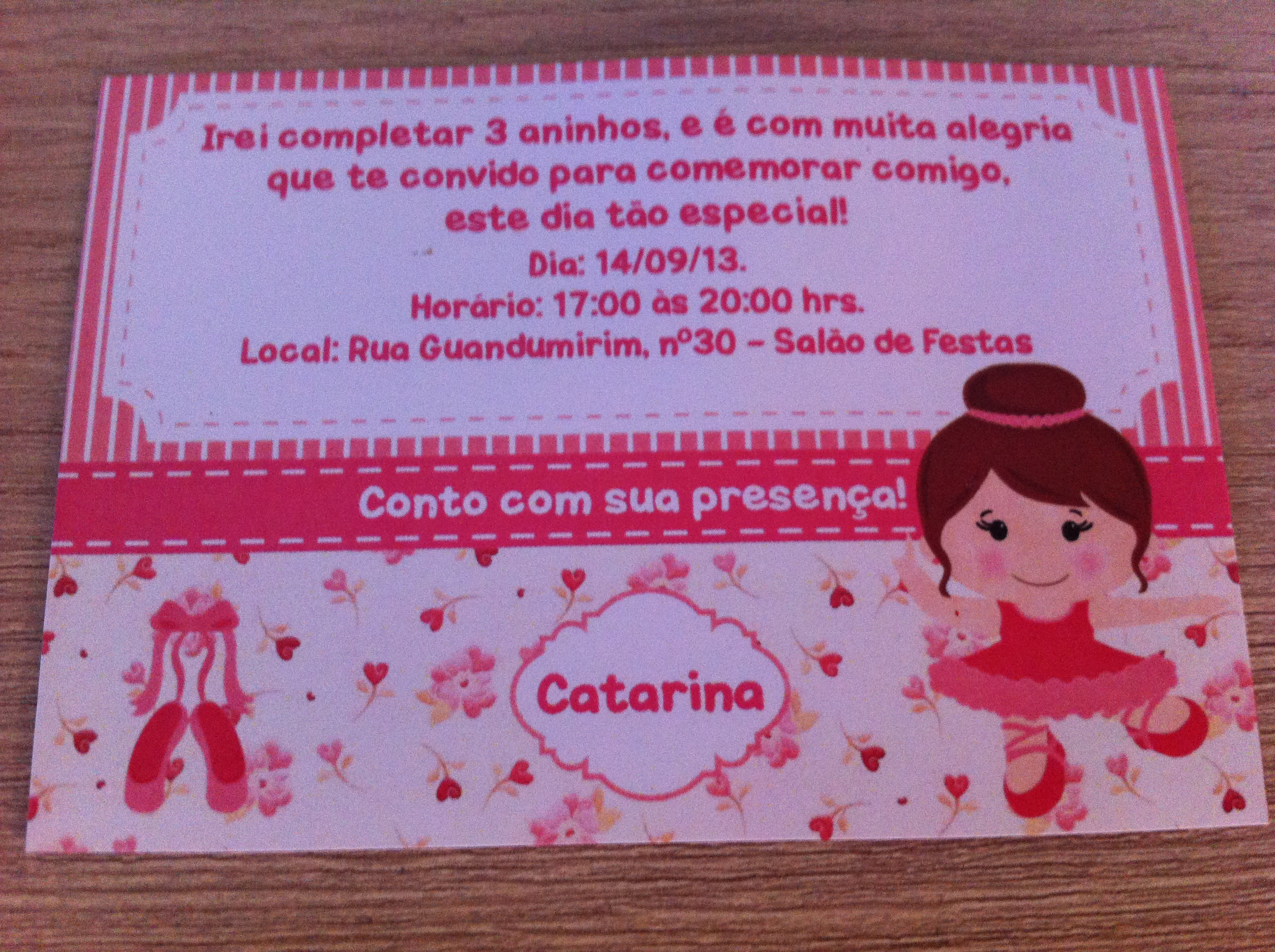 Convite Personalizado Bailarina No Elo7 Filicosarts 404008